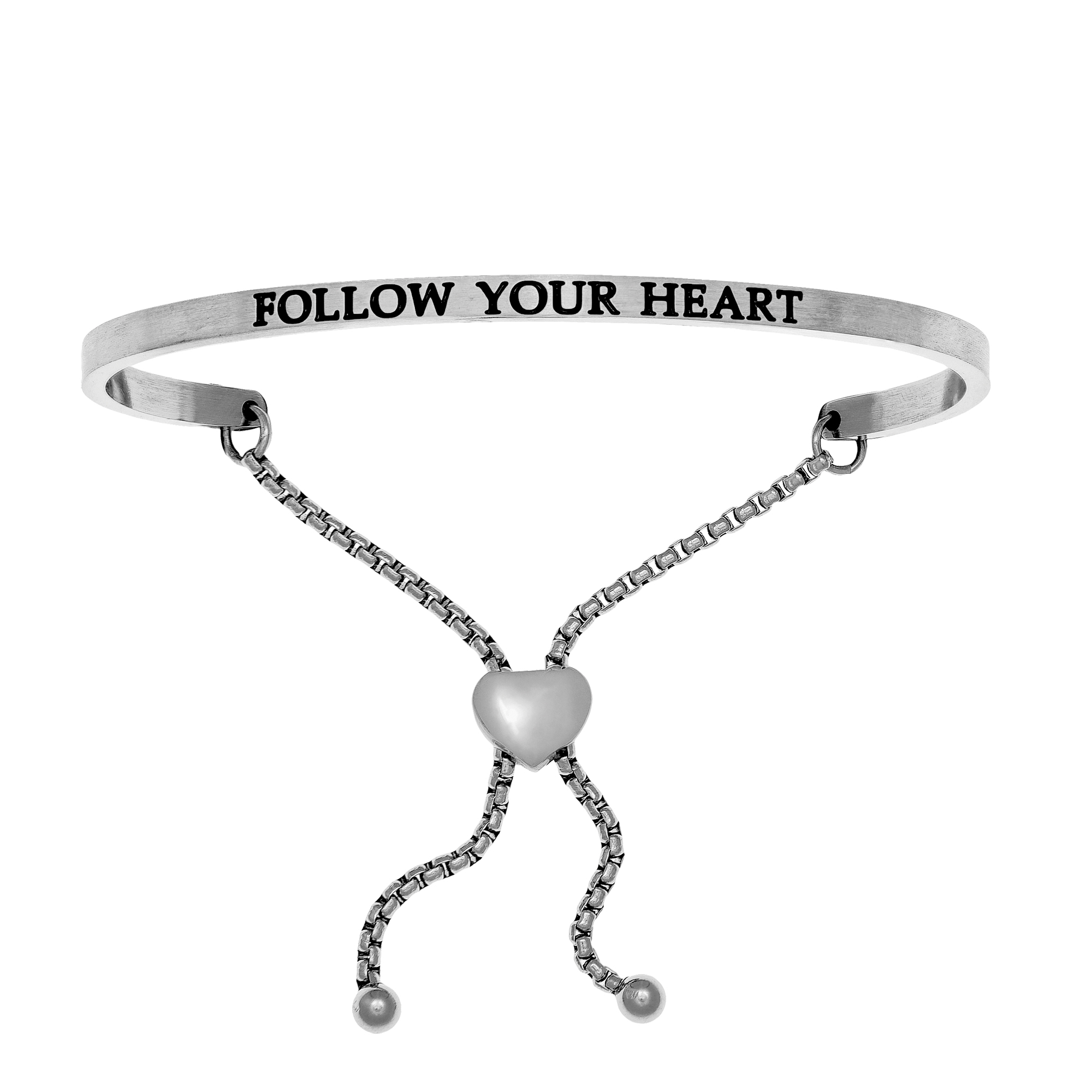 Intuitions Stainless Steel FOLLOW YOUR HEART Diamond Accent Adjustable Bracelet Each of these bracelets carries a personal message of inspiration, spirituality or just plain fun. Meant to be worn alone or stacked together for a smart, contemporary look, they're a great self-purchase or as a gift for family or friends. Intuitions are made of stainless steel and come in two styles standard cuff or friendship and fit practically any wrist. Intuitions Jewelry makes the difference in your daily life by designing and creating bracelets and bangles with motivational quotes to inspire you and your loved ones. Giving back $.25 of each bracelet to BABY2BABY