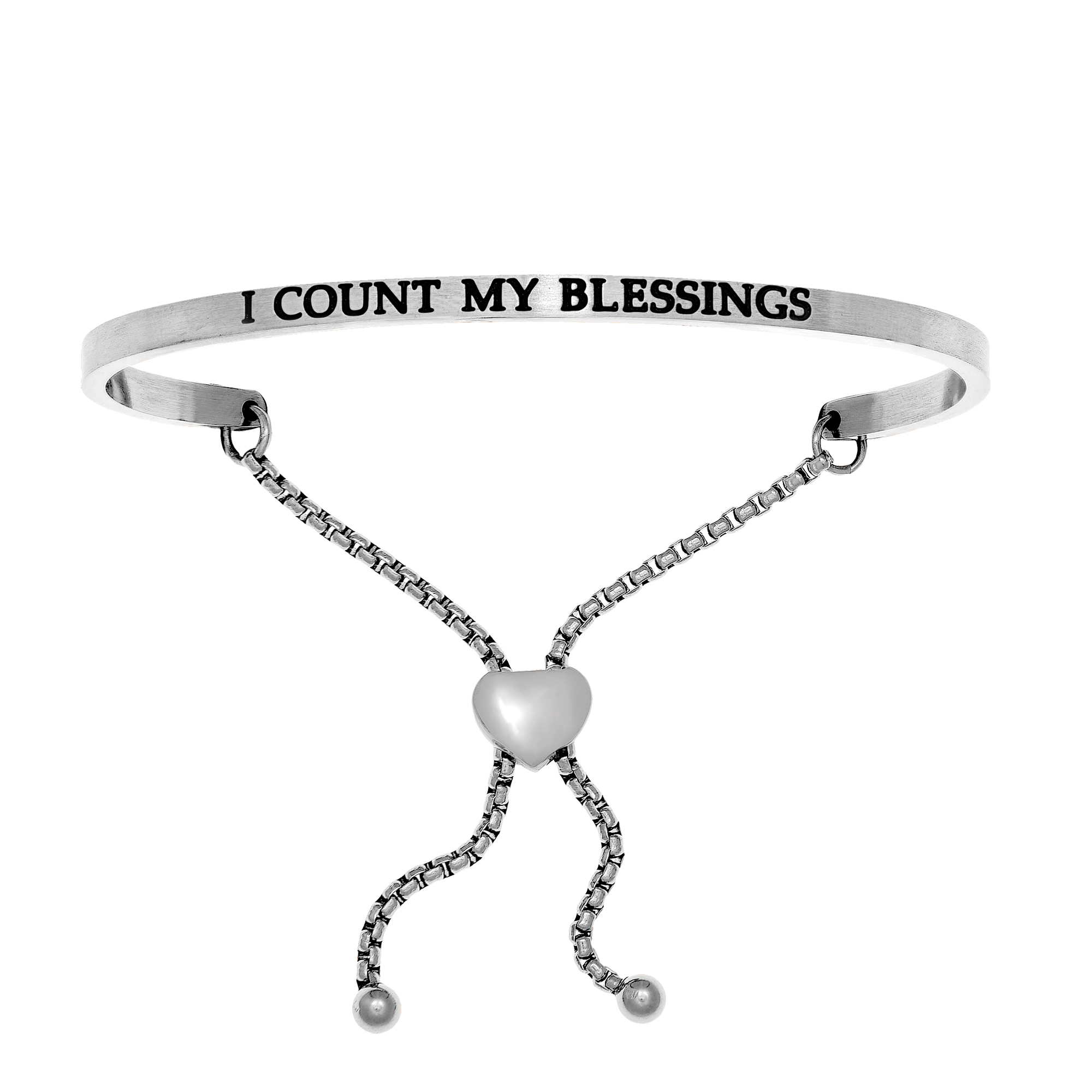 Intuitions Stainless Steel I COUNT MY BLESSINGS Diamond Accent Adjustable Bracelet Each of these bracelets carries a personal message of inspiration, spirituality or just plain fun. Meant to be worn alone or stacked together for a smart, contemporary look, they're a great self-purchase or as a gift for family or friends. Intuitions are made of stainless steel and come in two styles standard cuff or friendship and fit practically any wrist. Intuitions Jewelry makes the difference in your daily life by designing and creating bracelets and bangles with motivational quotes to inspire you and your loved ones. Giving back $.25 of each bracelet to BABY2BABY