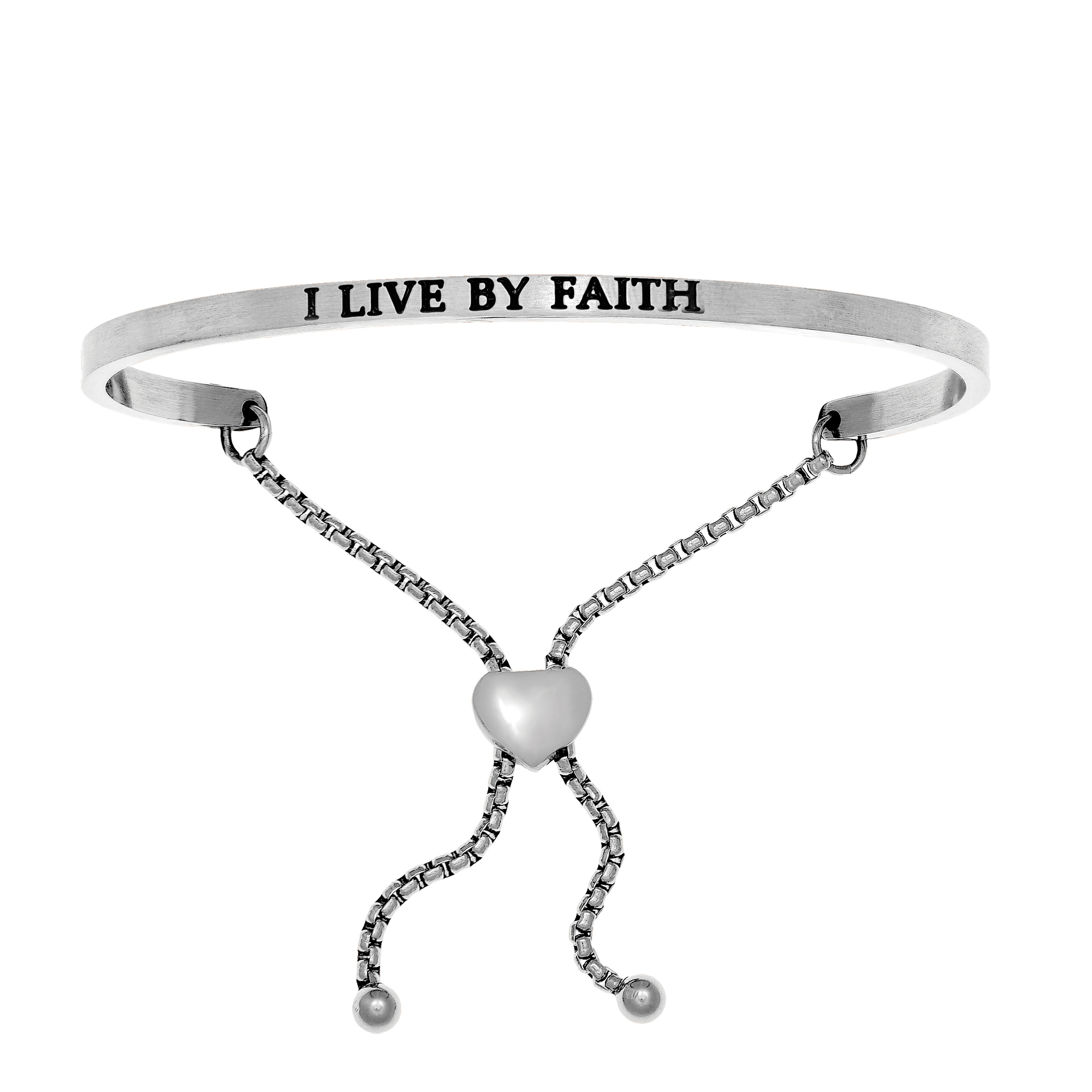 Intuitions Stainless Steel I LIVE BY FAITH Diamond Accent Adjustable Bracelet Each of these bracelets carries a personal message of inspiration, spirituality or just plain fun. Meant to be worn alone or stacked together for a smart, contemporary look, they're a great self-purchase or as a gift for family or friends. Intuitions are made of stainless steel and come in two styles standard cuff or friendship and fit practically any wrist. Intuitions Jewelry makes the difference in your daily life by designing and creating bracelets and bangles with motivational quotes to inspire you and your loved ones. Giving back $.25 of each bracelet to BABY2BABY