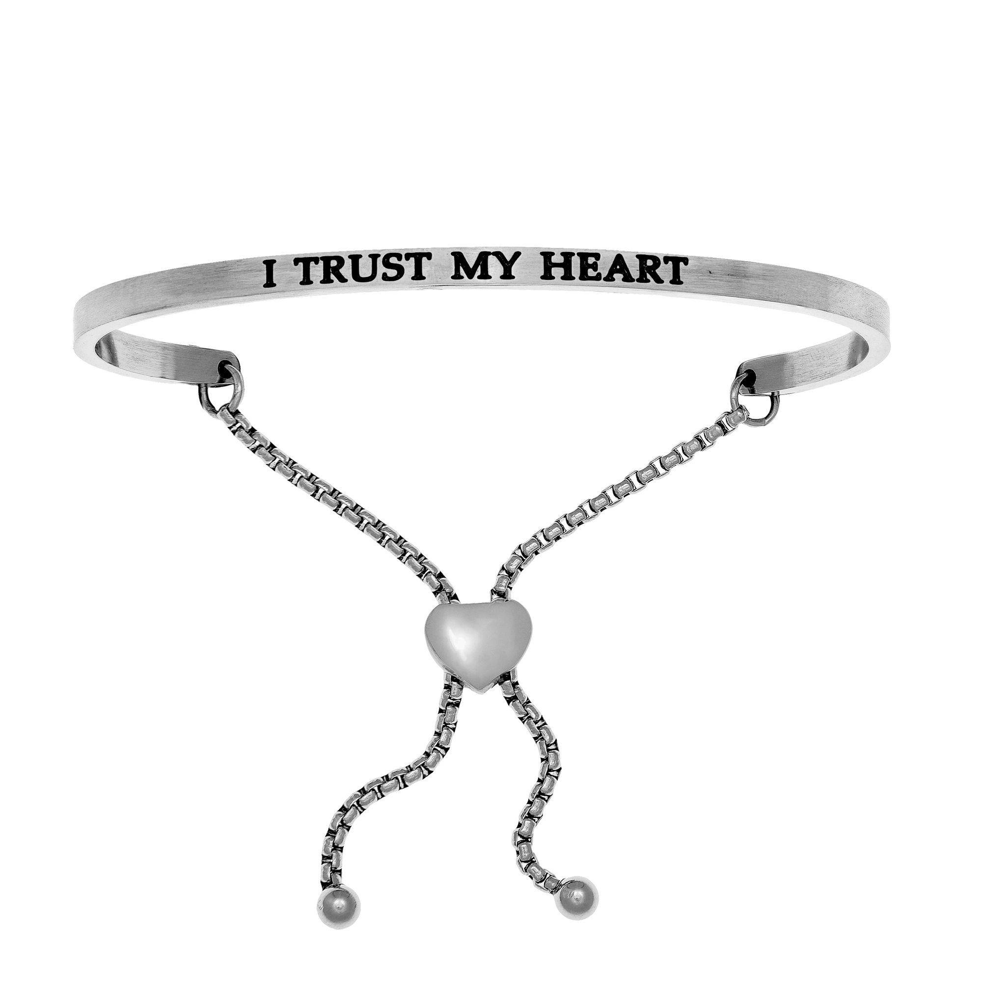 Intuitions Stainless Steel I TRUST MY HEART Diamond Accent Adjustable Bracelet Each of these bracelets carries a personal message of inspiration, spirituality or just plain fun. Meant to be worn alone or stacked together for a smart, contemporary look, they're a great self-purchase or as a gift for family or friends. Intuitions are made of stainless steel and come in two styles standard cuff or friendship and fit practically any wrist. Intuitions Jewelry makes the difference in your daily life by designing and creating bracelets and bangles with motivational quotes to inspire you and your loved ones. Giving back $.25 of each bracelet to BABY2BABY