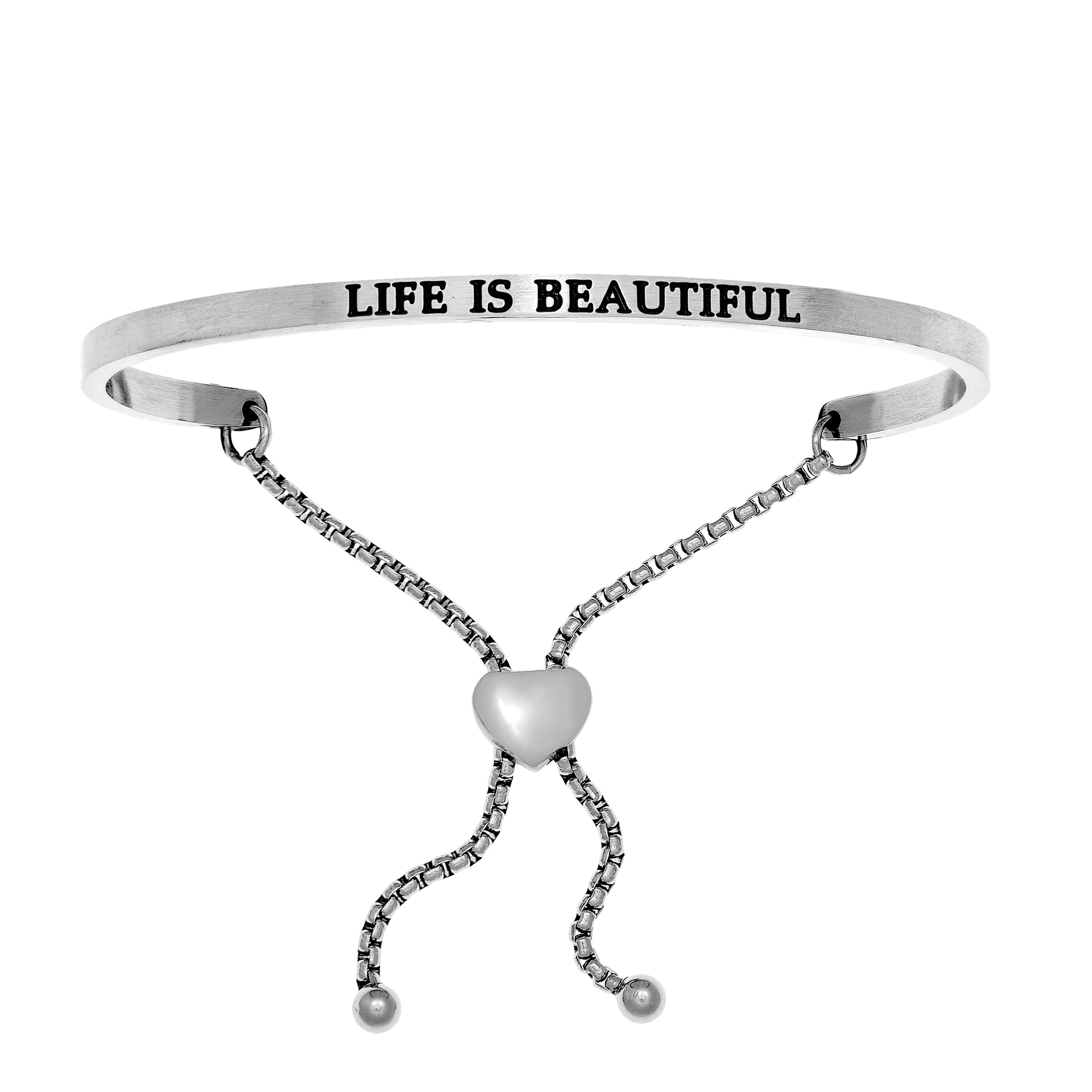 Intuitions Stainless Steel LIFE IS BEAUTIFUL Diamond Accent Adjustable Bracelet Each of these bracelets carries a personal message of inspiration, spirituality or just plain fun. Meant to be worn alone or stacked together for a smart, contemporary look, they're a great self-purchase or as a gift for family or friends. Intuitions are made of stainless steel and come in two styles standard cuff or friendship and fit practically any wrist. Intuitions Jewelry makes the difference in your daily life by designing and creating bracelets and bangles with motivational quotes to inspire you and your loved ones. Giving back $.25 of each bracelet to BABY2BABY