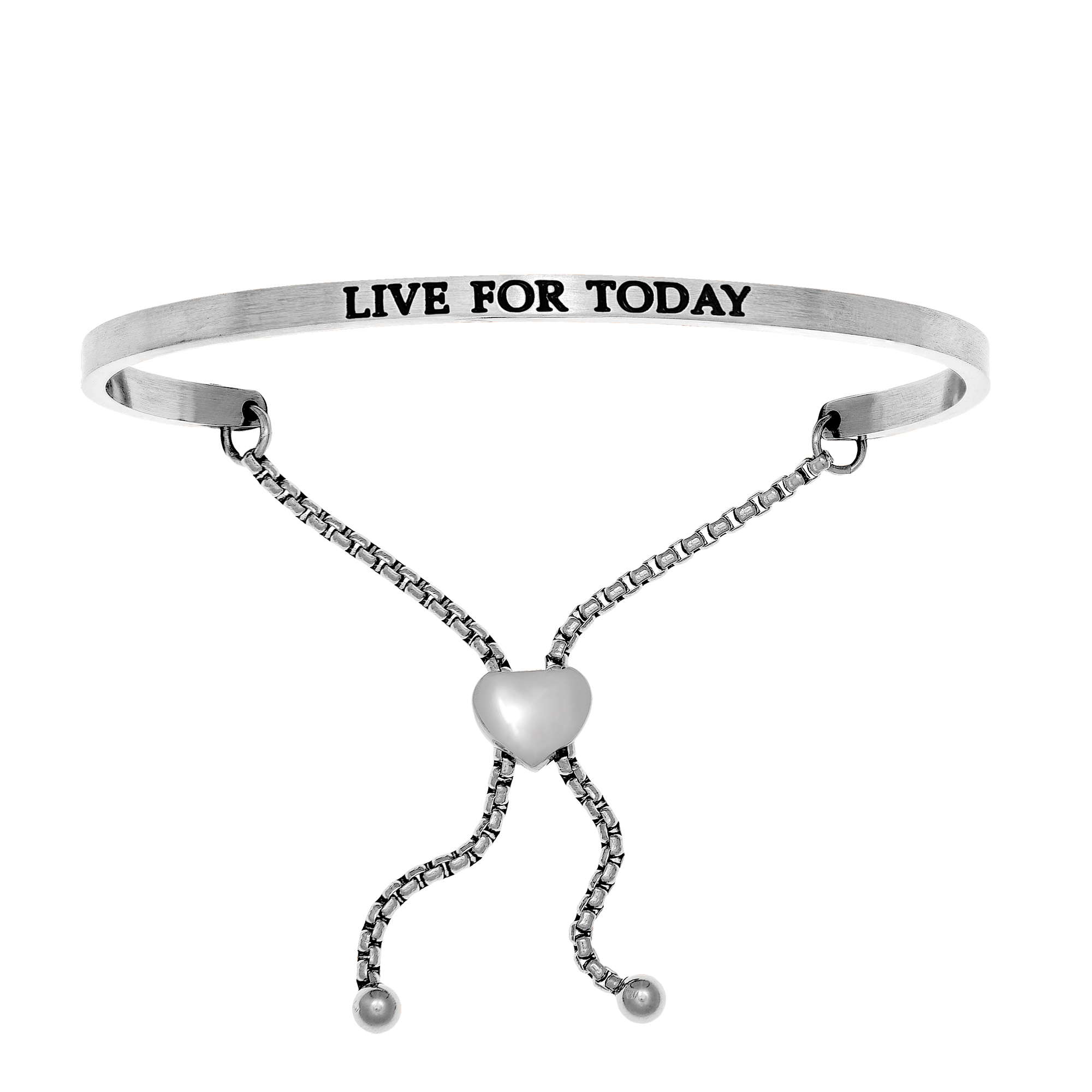 Intuitions Stainless Steel LIVE FOR TODAY Diamond Accent Adjustable Bracelet Each of these bracelets carries a personal message of inspiration, spirituality or just plain fun. Meant to be worn alone or stacked together for a smart, contemporary look, they're a great self-purchase or as a gift for family or friends. Intuitions are made of stainless steel and come in two styles standard cuff or friendship and fit practically any wrist. Intuitions Jewelry makes the difference in your daily life by designing and creating bracelets and bangles with motivational quotes to inspire you and your loved ones. Giving back $.25 of each bracelet to BABY2BABY