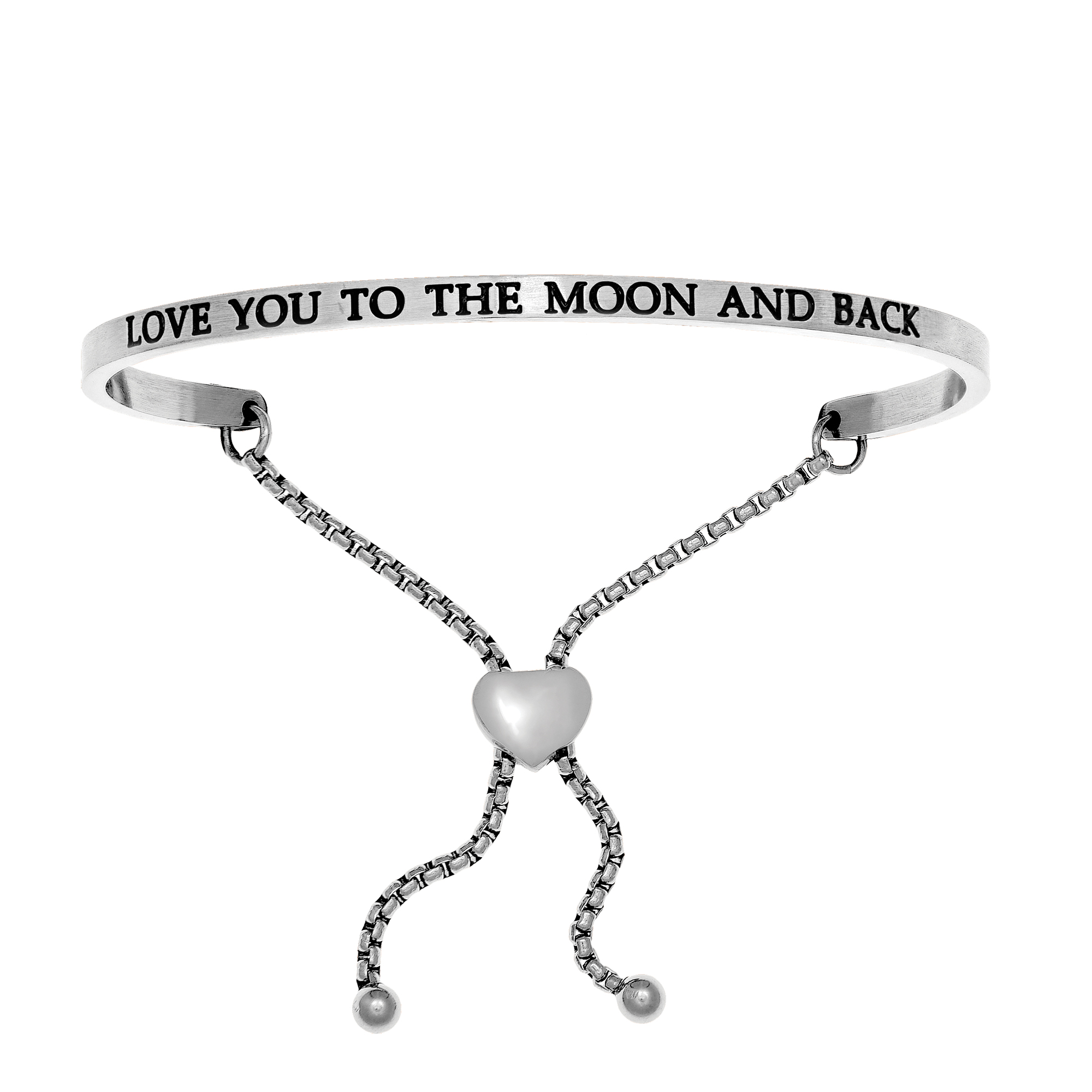 Intuitions Stainless Steel LOVE YOU TO THE MOON AND BACK Diamond Accent Adjustable Bracelet Each of these bracelets carries a personal message of inspiration, spirituality or just plain fun. Meant to be worn alone or stacked together for a smart, contemporary look, they're a great self-purchase or as a gift for family or friends. Intuitions are made of stainless steel and come in two styles standard cuff or friendship and fit practically any wrist. Intuitions Jewelry makes the difference in your daily life by designing and creating bracelets and bangles with motivational quotes to inspire you and your loved ones. Giving back $.25 of each bracelet to BABY2BABY