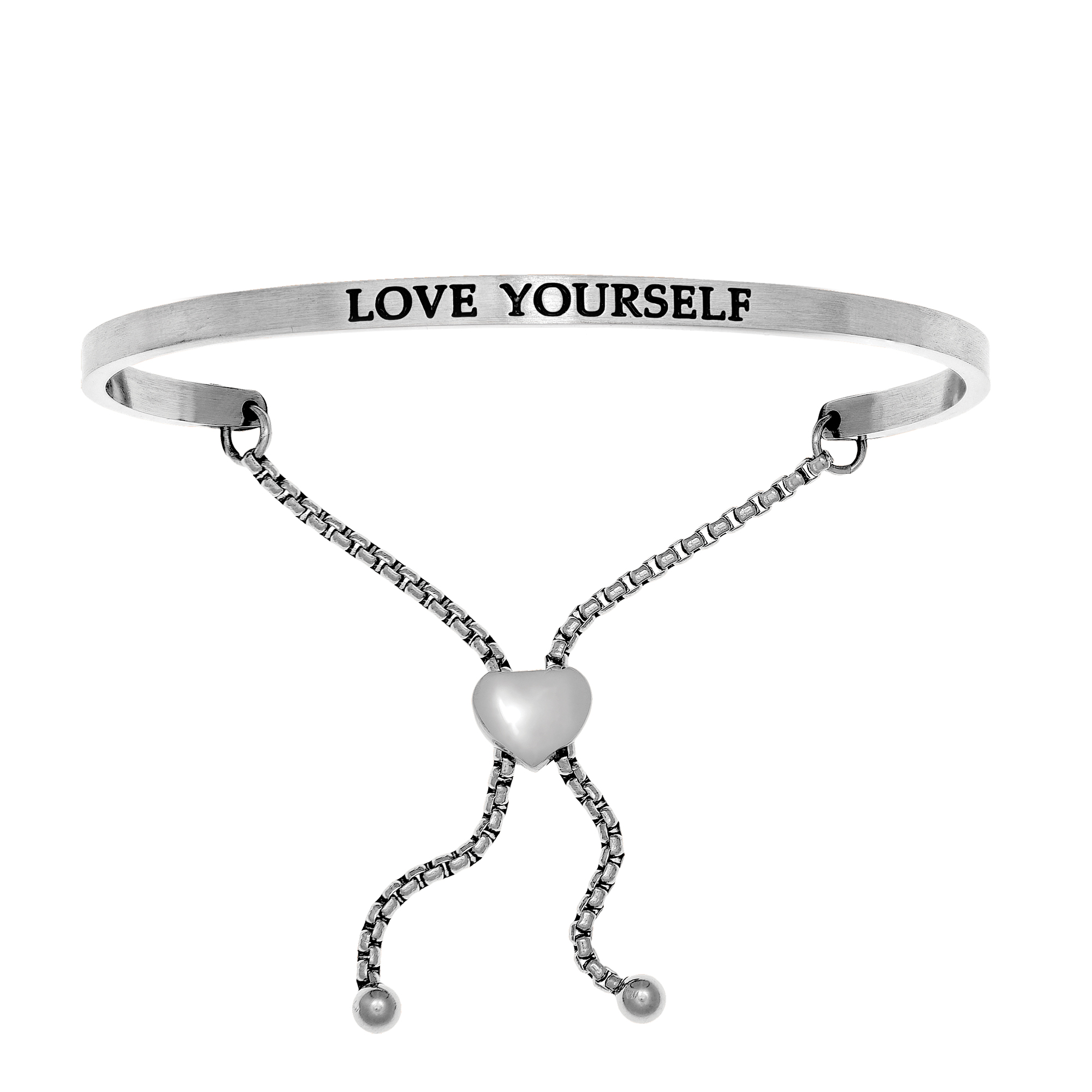Intuitions Stainless Steel LOVE YOURSELF Diamond Accent Adjustable Bracelet Each of these bracelets carries a personal message of inspiration, spirituality or just plain fun. Meant to be worn alone or stacked together for a smart, contemporary look, they're a great self-purchase or as a gift for family or friends. Intuitions are made of stainless steel and come in two styles standard cuff or friendship and fit practically any wrist. Intuitions Jewelry makes the difference in your daily life by designing and creating bracelets and bangles with motivational quotes to inspire you and your loved ones. Giving back $.25 of each bracelet to BABY2BABY