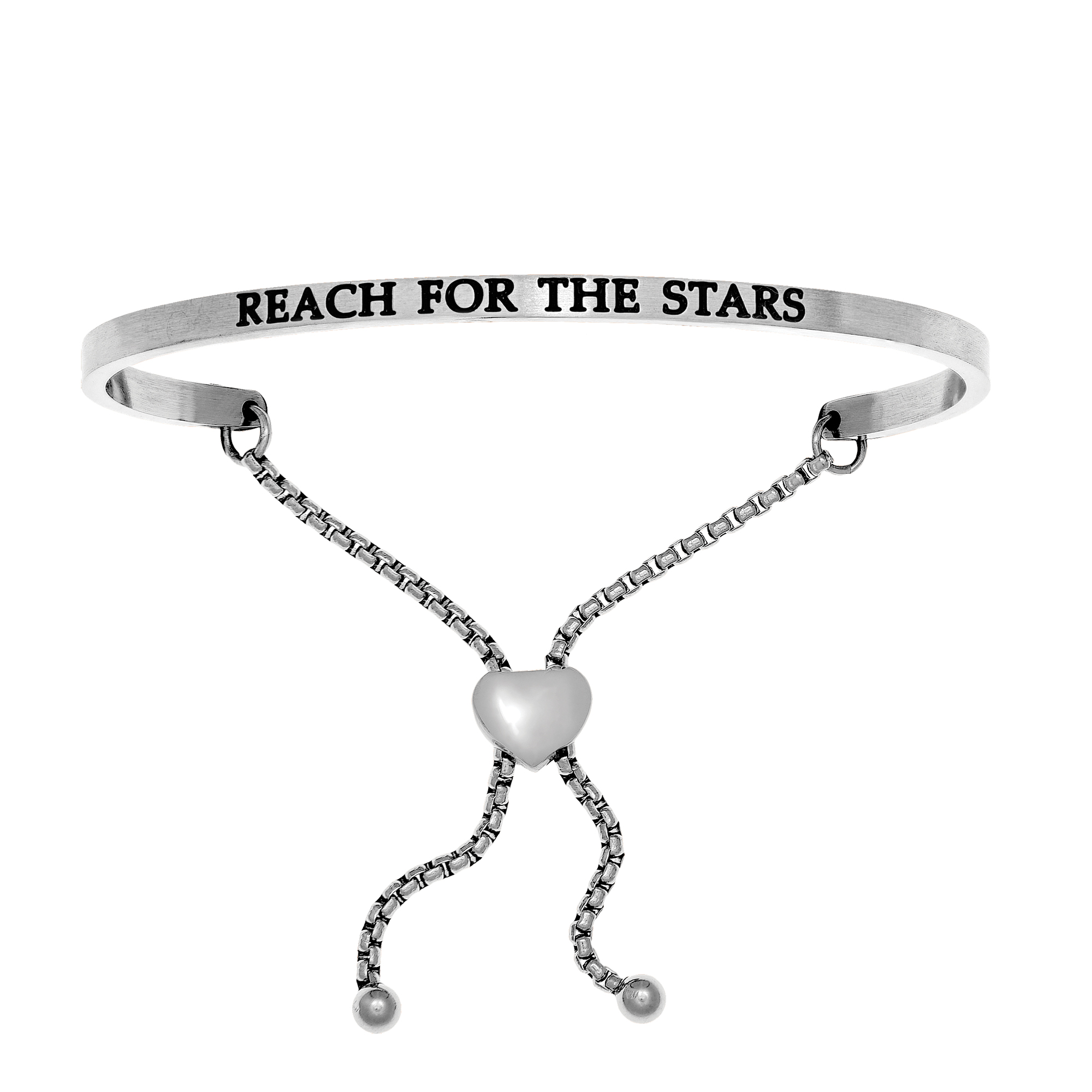 Intuitions Stainless Steel REACH FOR THE STARS Diamond Accent Adjustable Bracelet Each of these bracelets carries a personal message of inspiration, spirituality or just plain fun. Meant to be worn alone or stacked together for a smart, contemporary look, they're a great self-purchase or as a gift for family or friends. Intuitions are made of stainless steel and come in two styles standard cuff or friendship and fit practically any wrist. Intuitions Jewelry makes the difference in your daily life by designing and creating bracelets and bangles with motivational quotes to inspire you and your loved ones. Giving back $.25 of each bracelet to BABY2BABY