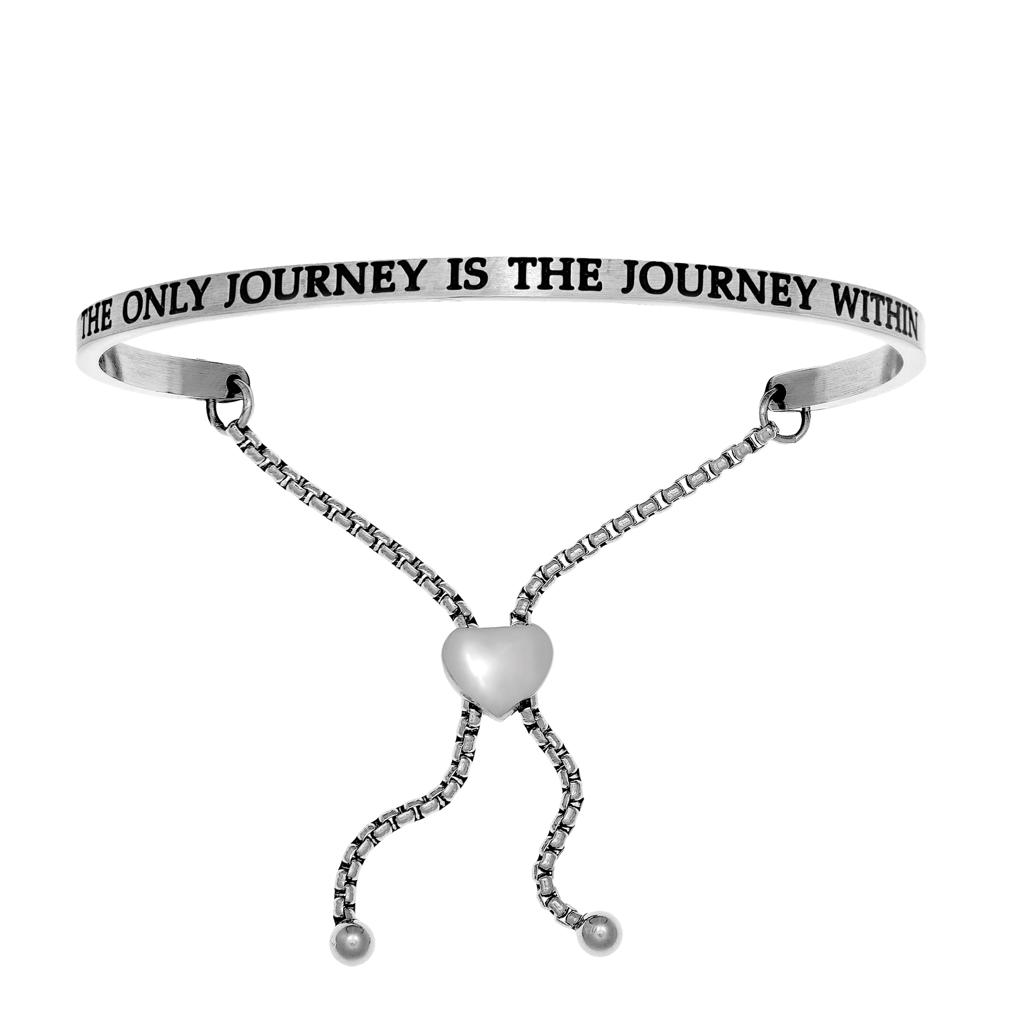 Intuitions Stainless Steel THE ONLY JOURNEY IS THE JOURNEY IN Diamond Accent Adjustable Bracelet Each of these bracelets carries a personal message of inspiration, spirituality or just plain fun. Meant to be worn alone or stacked together for a smart, contemporary look, they're a great self-purchase or as a gift for family or friends. Intuitions are made of stainless steel and come in two styles standard cuff or friendship and fit practically any wrist. Intuitions Jewelry makes the difference in your daily life by designing and creating bracelets and bangles with motivational quotes to inspire you and your loved ones. Giving back $.25 of each bracelet to BABY2BABY