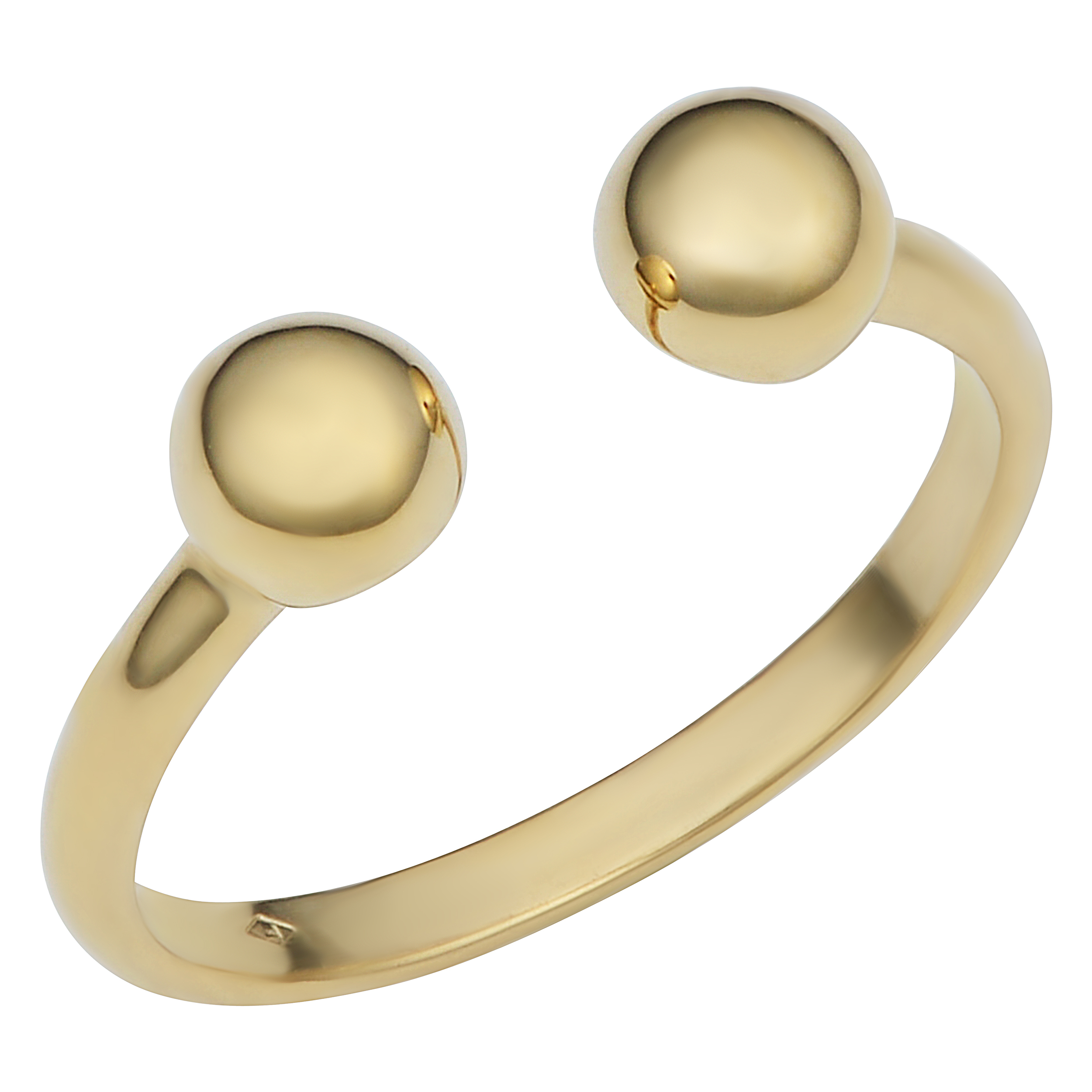 14k Yellow Gold Double Bead Open Ring, Size 6