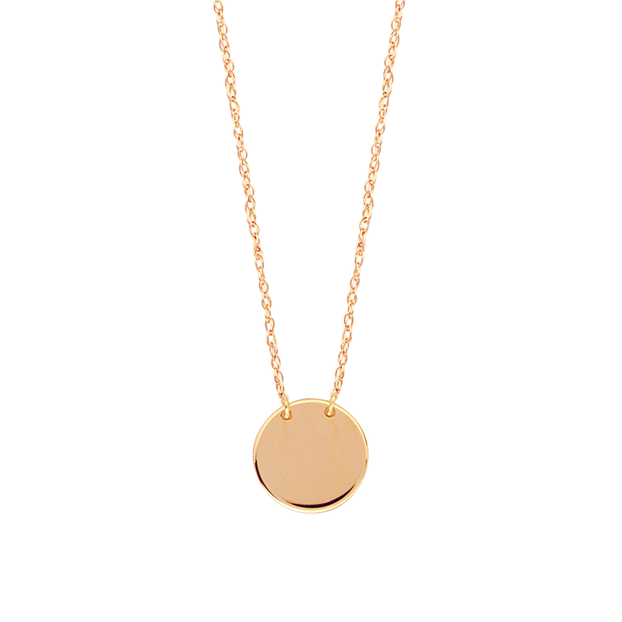 41c4481923f83 Details about 14K Rose Gold Mini Engravable Disk Pendant Necklace, 16 To 18  Inches Adjustable