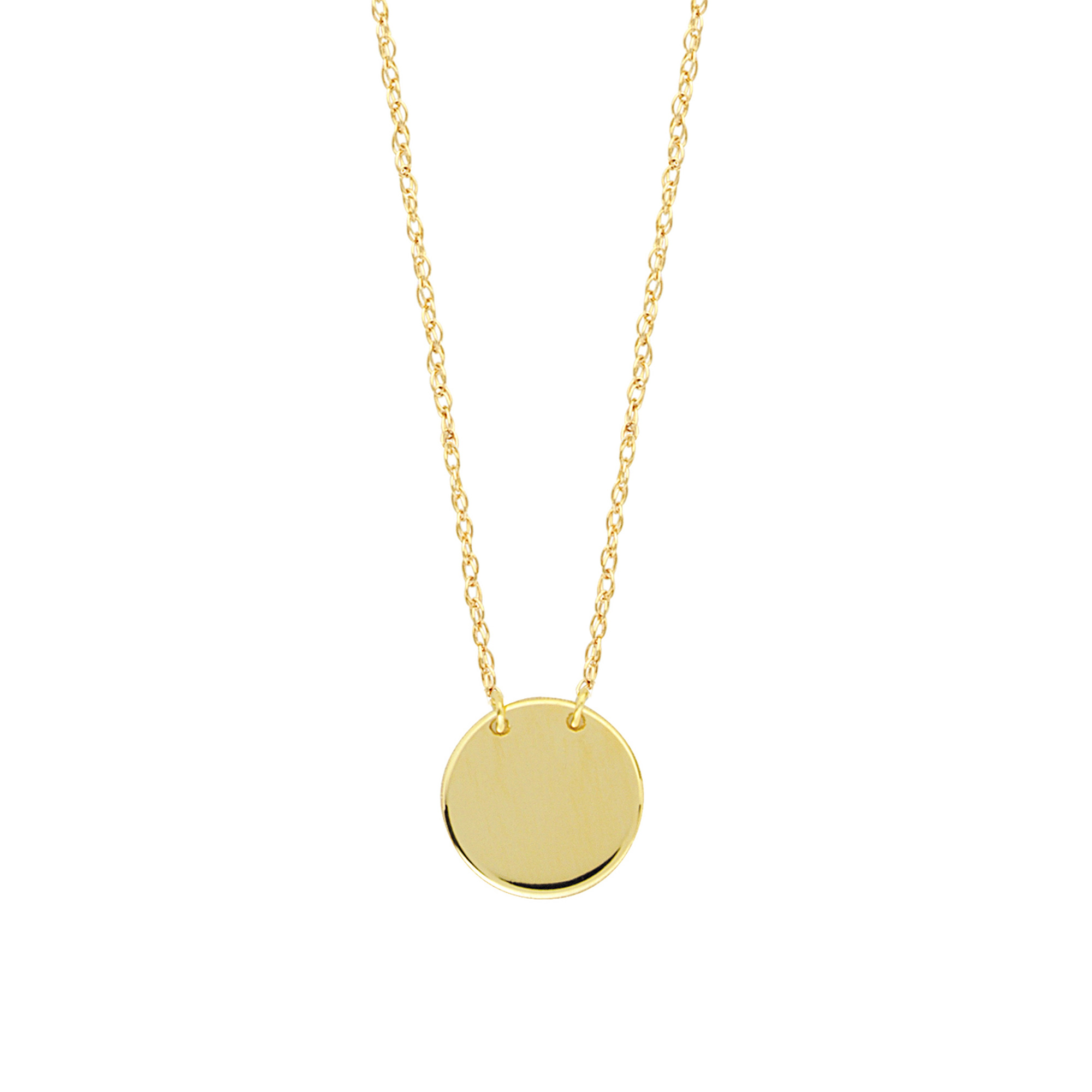 14k yellow gold disk pendant necklace 16 to 18 adjustable ebay 14k yellow gold mini engravable disk pendant necklace 16 to 18 adjustable aloadofball Images