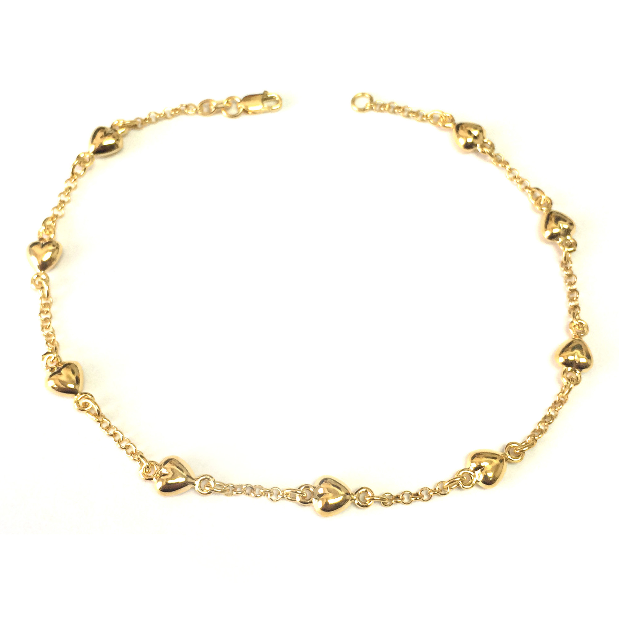 14K Yellow Gold Puffed Hearts Anklet, 10″
