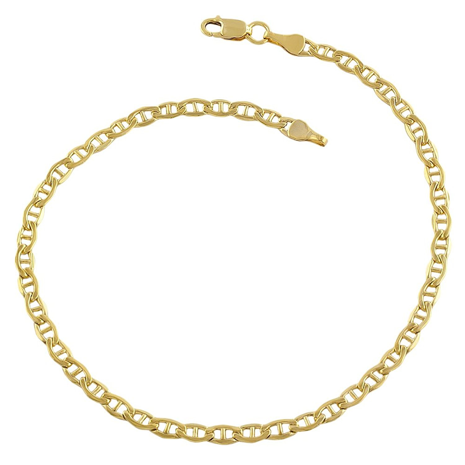 14K Yellow Gold Filled Solid Mariner Chain Bracelet, 3.2mm, 8.5″