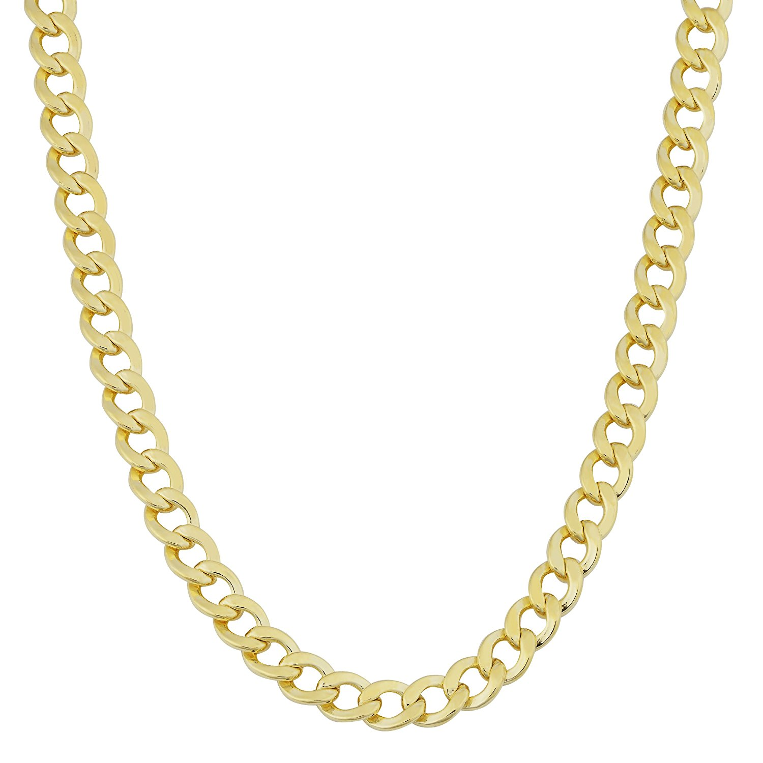 14k Gold Yellow White Finish 3.6mm Sparkle-Cut Comfort Pave Curb Chain With Lobster Clasp Necklace