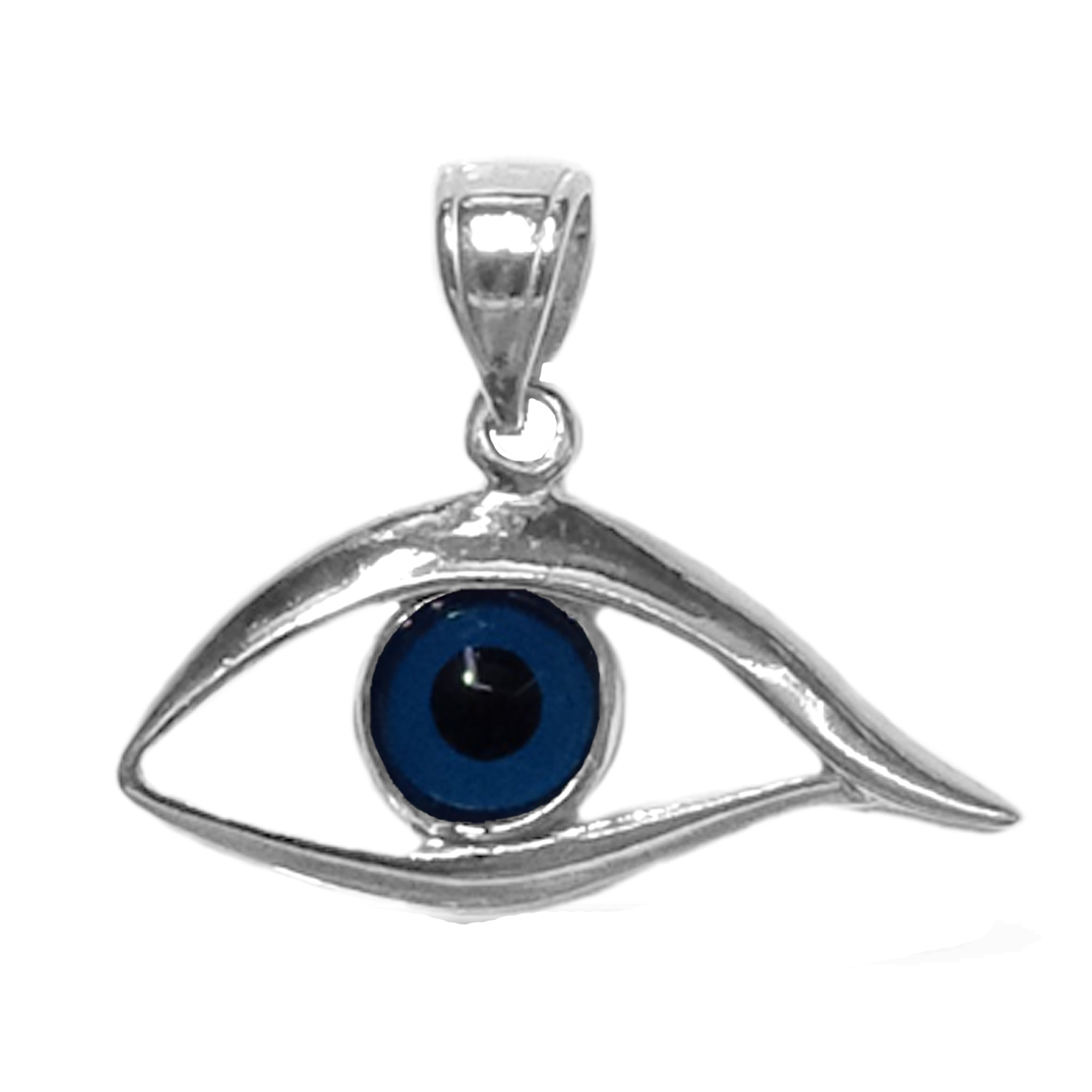 Sterling Silver Evil Blue Eye Pendant Charm, 25 x 20mm Inspired from the of Greek ancient jewelry era, this sterling silver charm features the Evil Eye motif, also known as Mati in greek, bordering a beautiful  glass Evil Eye. Measuring at 20mm x 25mm diameter, this greek evil eye is rhodium plated for better tarnish resistance.