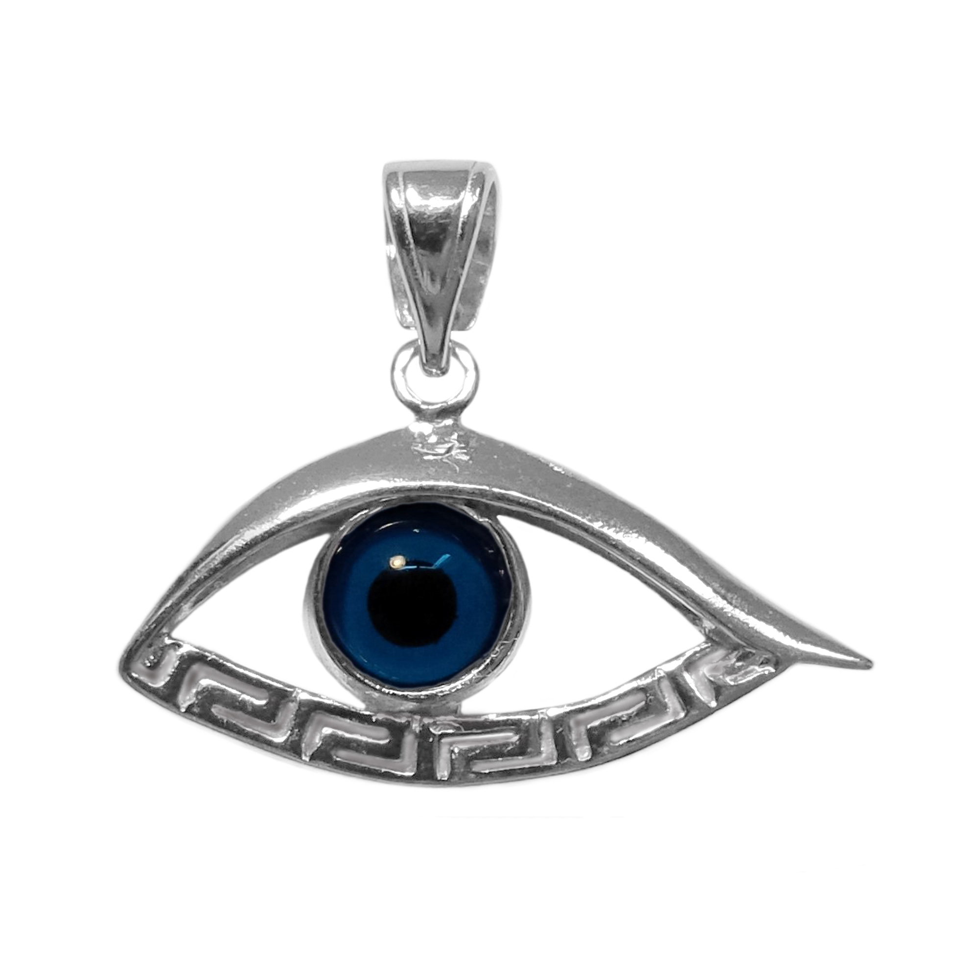 Sterling Silver Greek Key Evil Eye Meandros Pendant Inspired from the of Greek ancient jewelry era, this sterling silver charm features the Greek Key Motif, also known as the Meander or eternity symbol, bordering a beautiful glass Evil Eye.