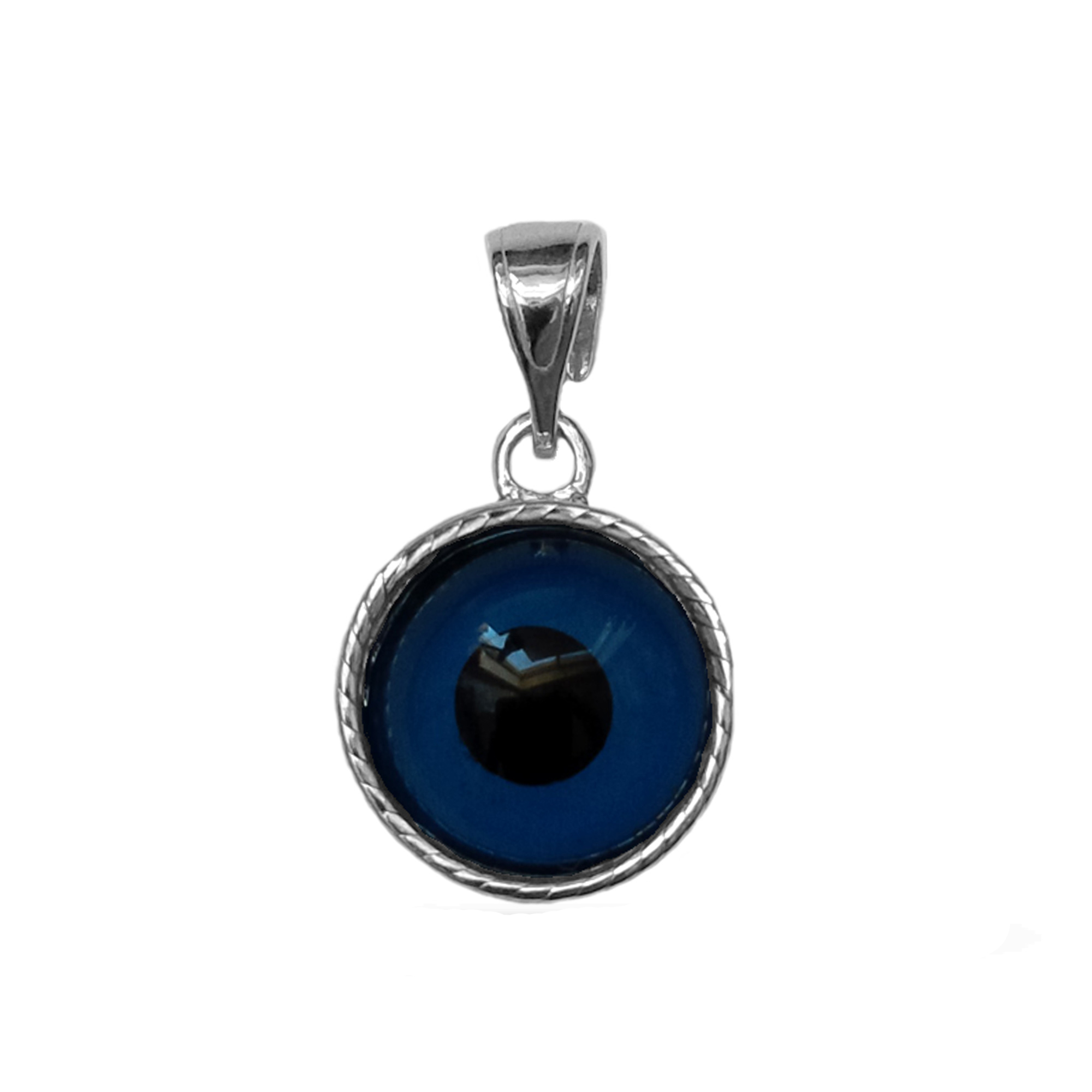Sterling Silver Greek Meandros Evil Eye Charm Inspired from the of Greek ancient jewelry era, this sterling silver charm features the Greek Key motif, also known as the Meander or eternity symbol, bordering a beautiful double sided glass Evil Eye. Measuring at 12mm diameter, this Greek evil eye is rhodium plated for better tarnish resistance.