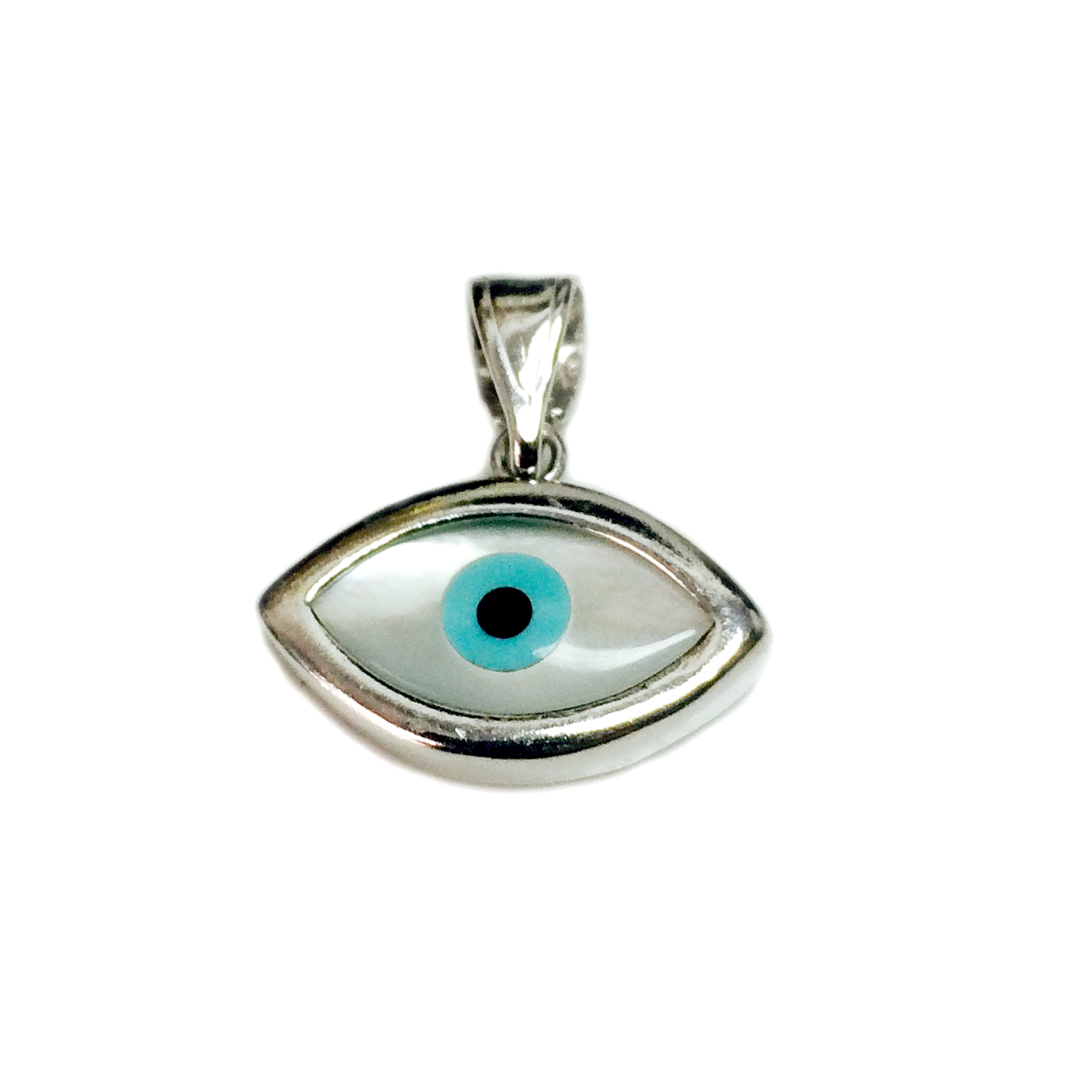 Sterling Silver Evil Eye Pendant Charm, 23 x 13mm Inspired from the of Greek ancient jewelry era, this sterling silver charm features the Evil Eye motif, also known as  Mati  in Greek , bordering a beautiful  glass Evil Eye. Measuring at 23x13 mm diameter, this Greek evil eye is rhodium plated for better tarnish resistance.