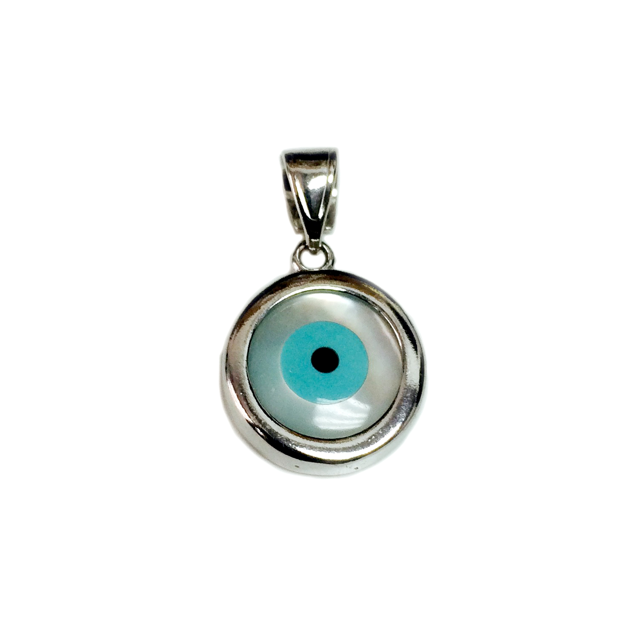 Sterling Silver Evil Eye Pendant Charm, 15mm Inspired from the of Greek ancient jewelry era, this sterling silver charm features the Evil Eye motif, also known as  Mati  in Greek, bordering a beautiful  glass Evil Eye. Measuring at 15mm diameter, this Greek evil eye is rhodium plated for better tarnish resistance.