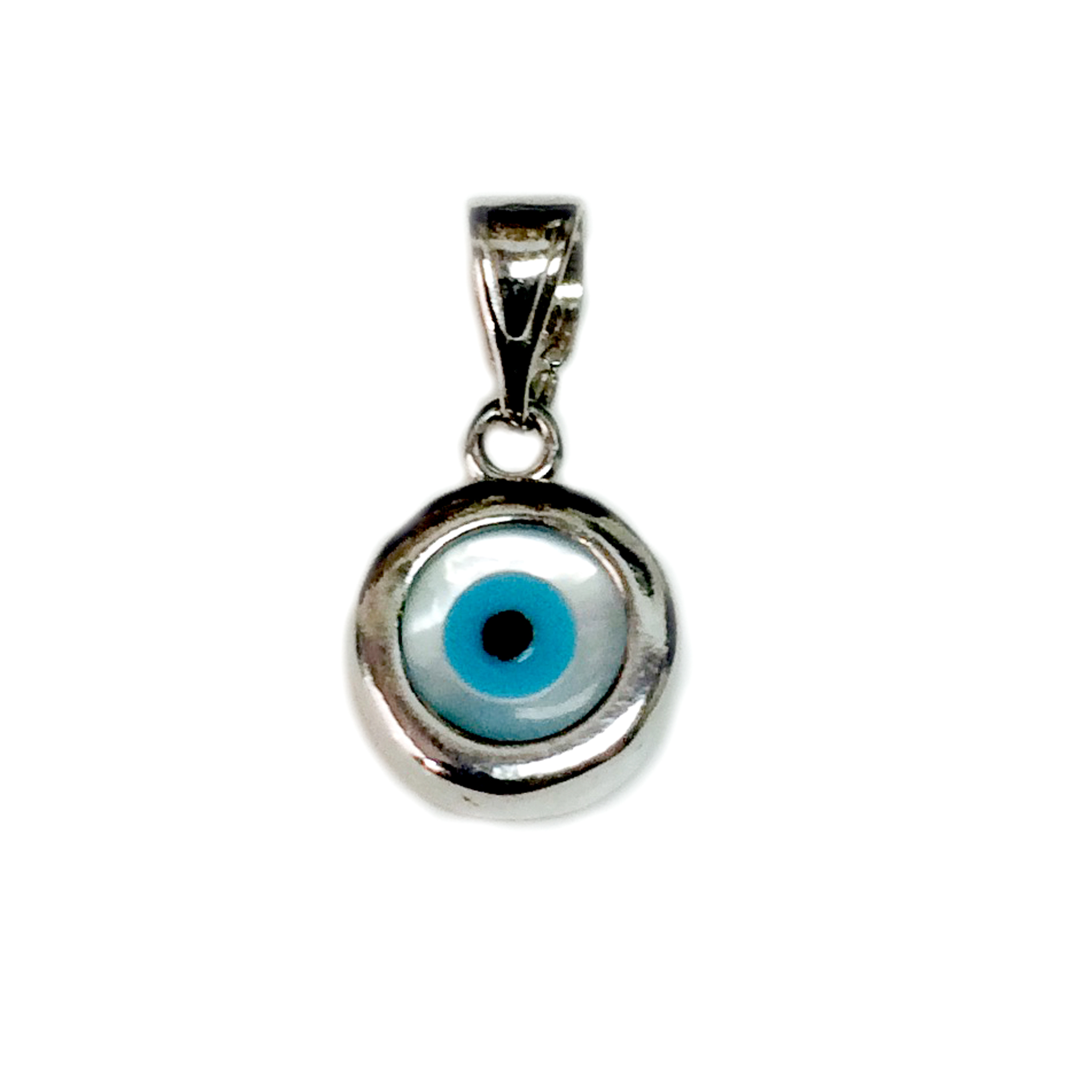 Sterling Silver Evil Eye Pendant Charm, 10mm Inspired from the of Greek ancient jewelry era, this sterling silver charm features the Evil Eye motif, also known as  Mati  in Greek, bordering a beautiful  glass Evil Eye. Measuring at 10mm diameter, this Greek evil eye is rhodium plated for better tarnish resistance.
