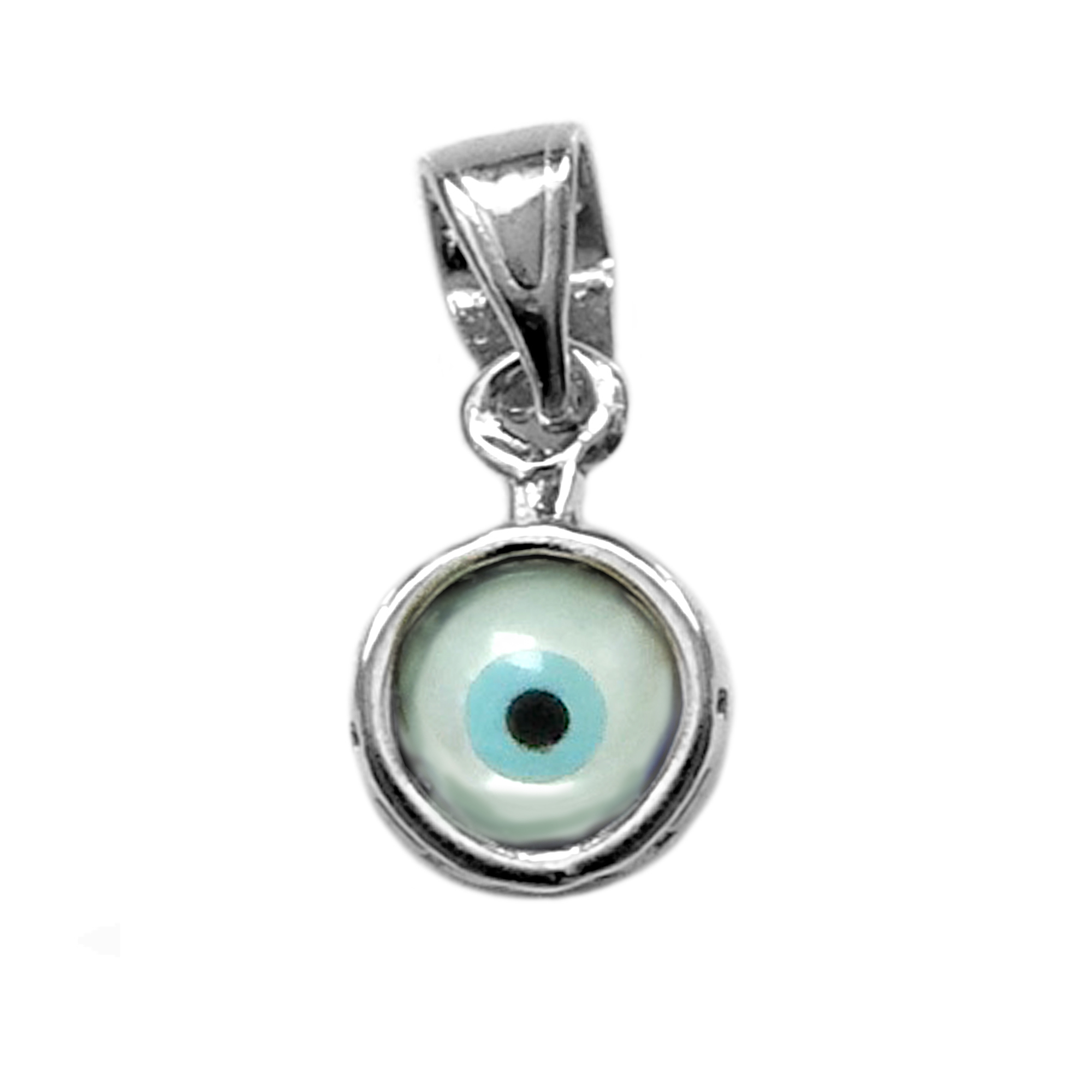 Sterling Silver Greek Meandros Evil Eye Charm Inspired from the of Greek ancient jewelry era, this sterling silver charm features the Greek Key motif, also known as the Meander or eternity symbol, bordering a beautiful double sided glass Evil Eye. Measuring at 7.5 mm diameter, this Greek evil eye is rhodium plated for better tarnish resistance.