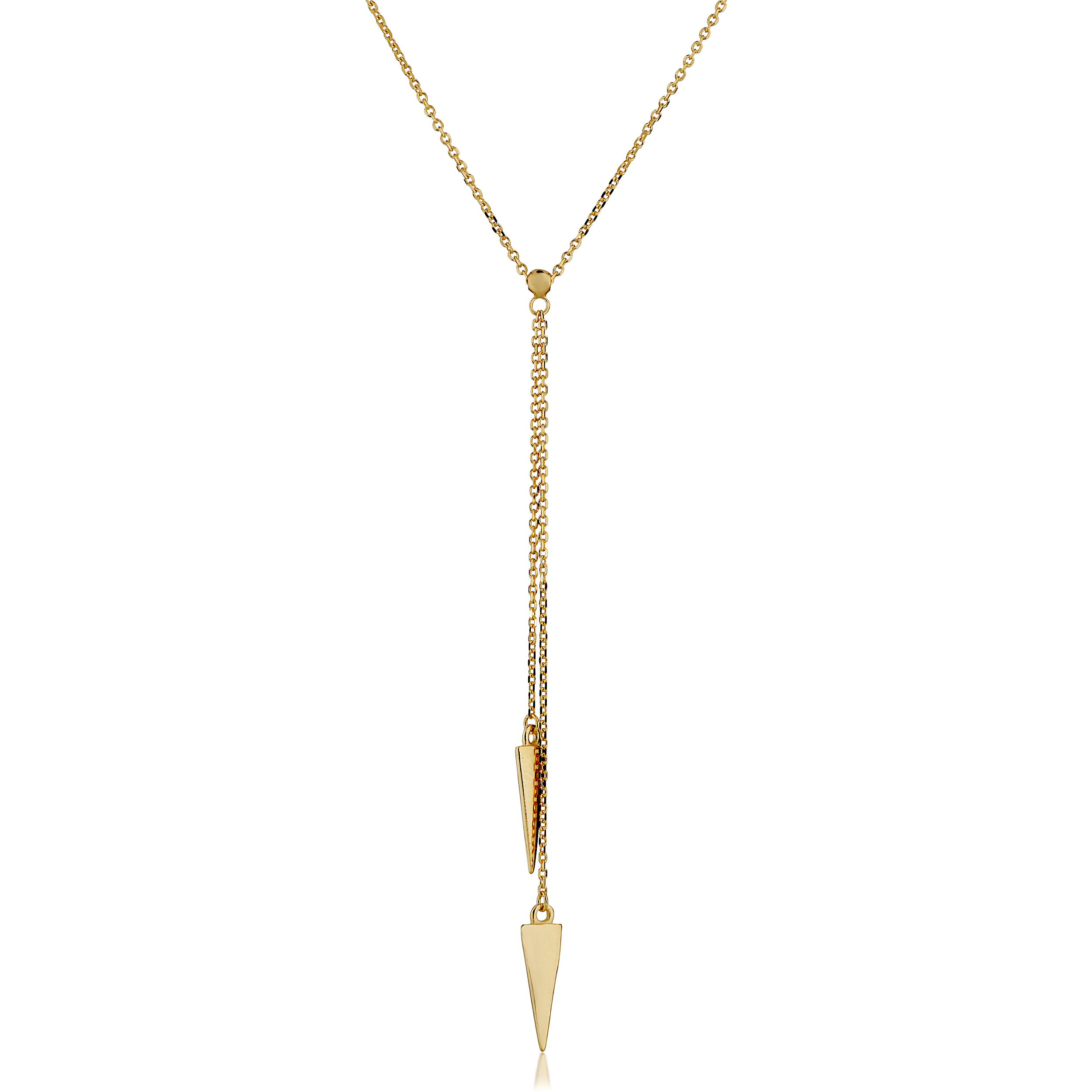 14K Yellow Gold Double Triangle Lariat Necklace, 17