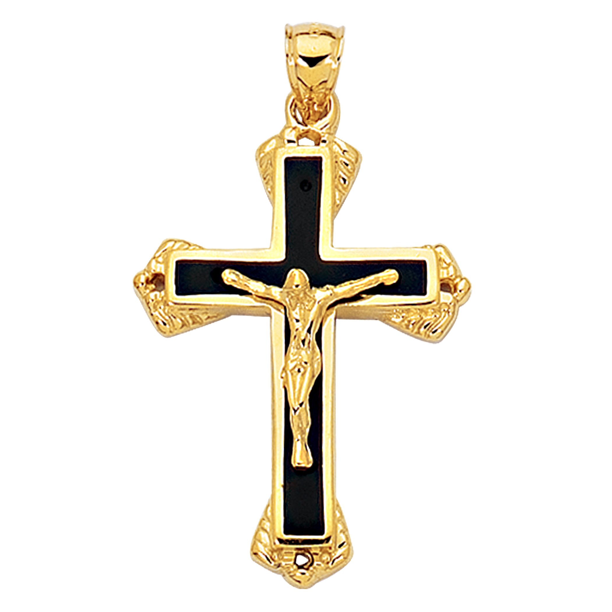 14k Yellow Gold And Black Enamel Crucifix Cross Mens Pendant
