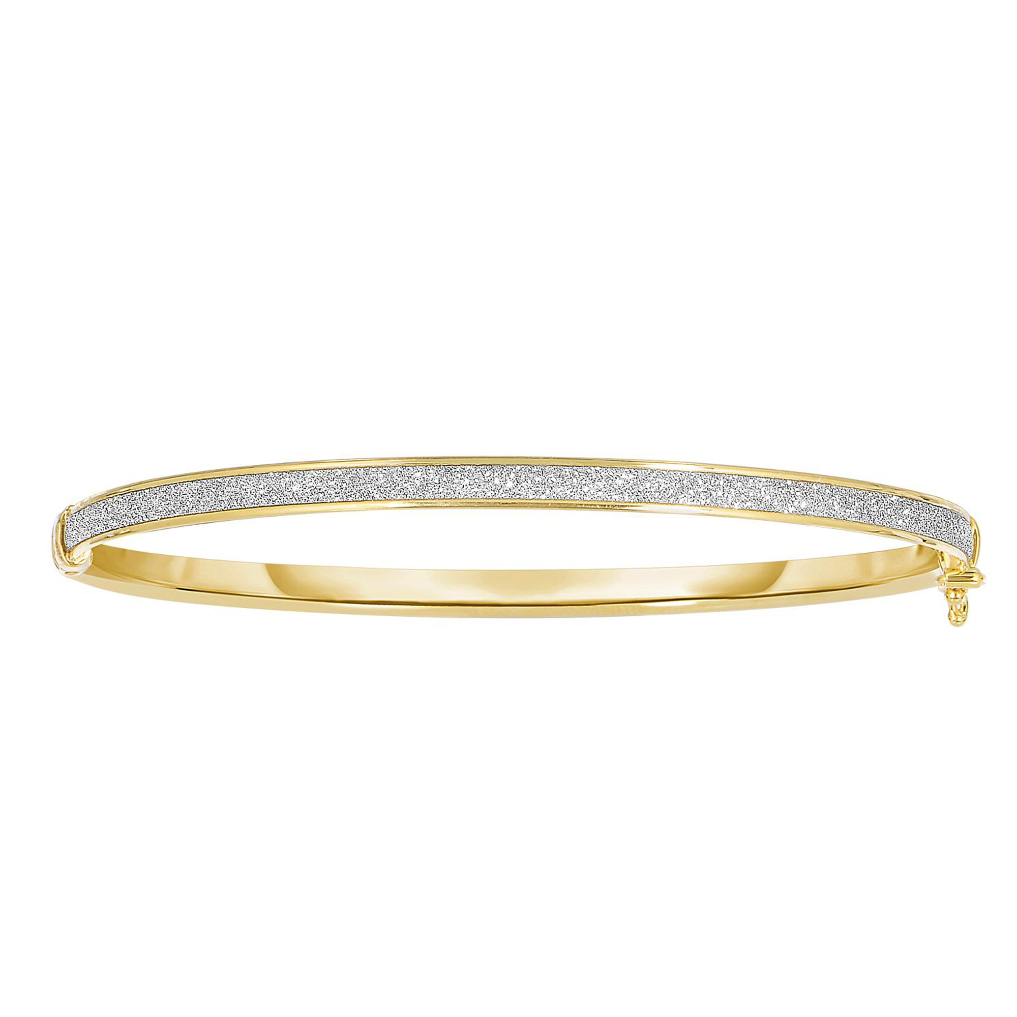 14k Yellow Gold Shiny Oval Shape White Gliter Bangle Bracelet, 7.25″