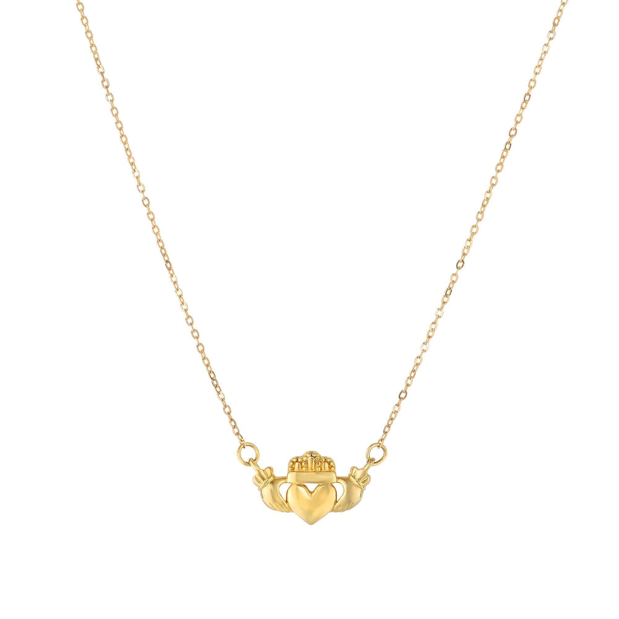 14k Yellow Gold Polished Claddagh Center Charm On Chain Necklace, 17