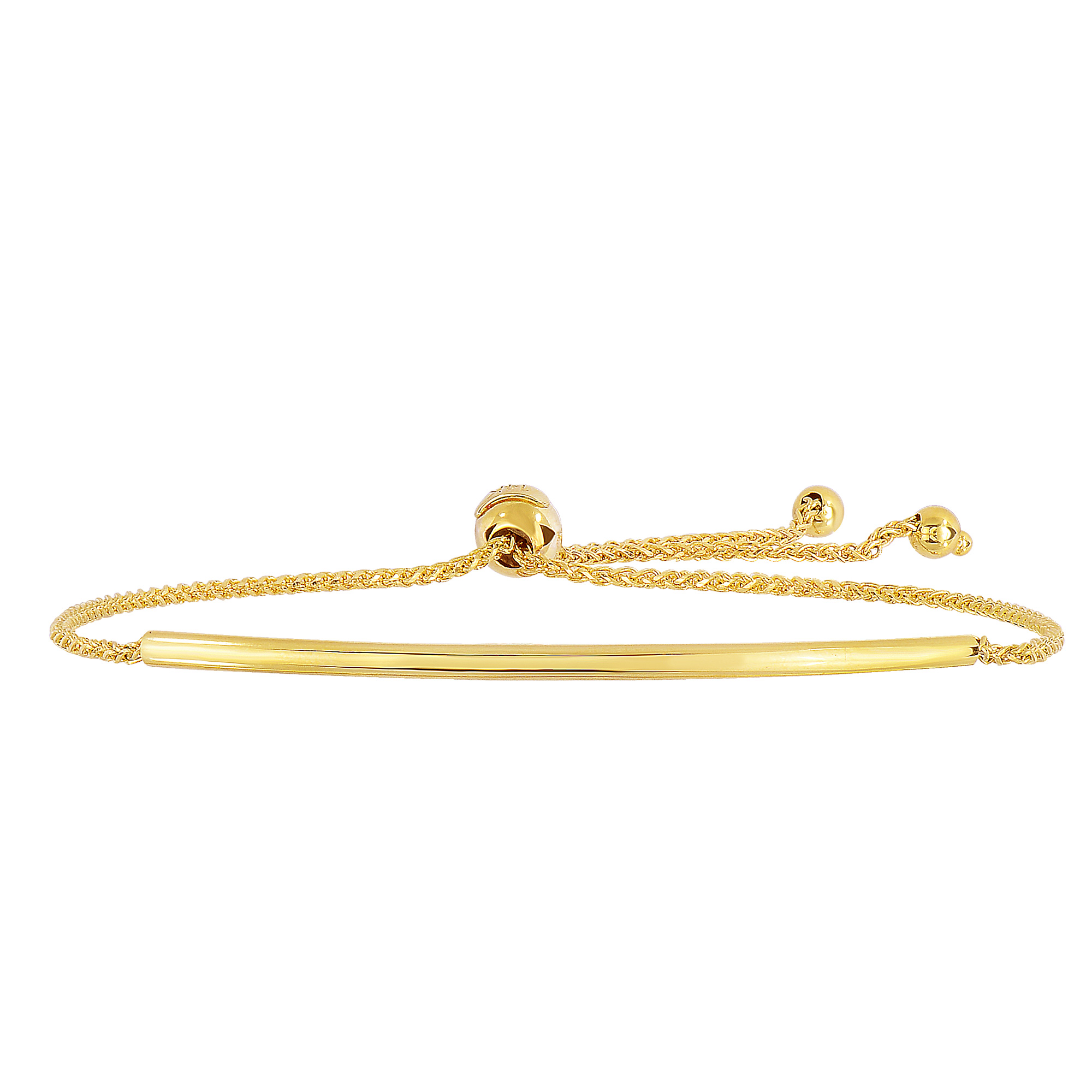 14K Yellow Gold Curve Bar Diamond Cut Wheat Chain Adjustable Bracelet With Adjustable Ball Clasp, 9.25″