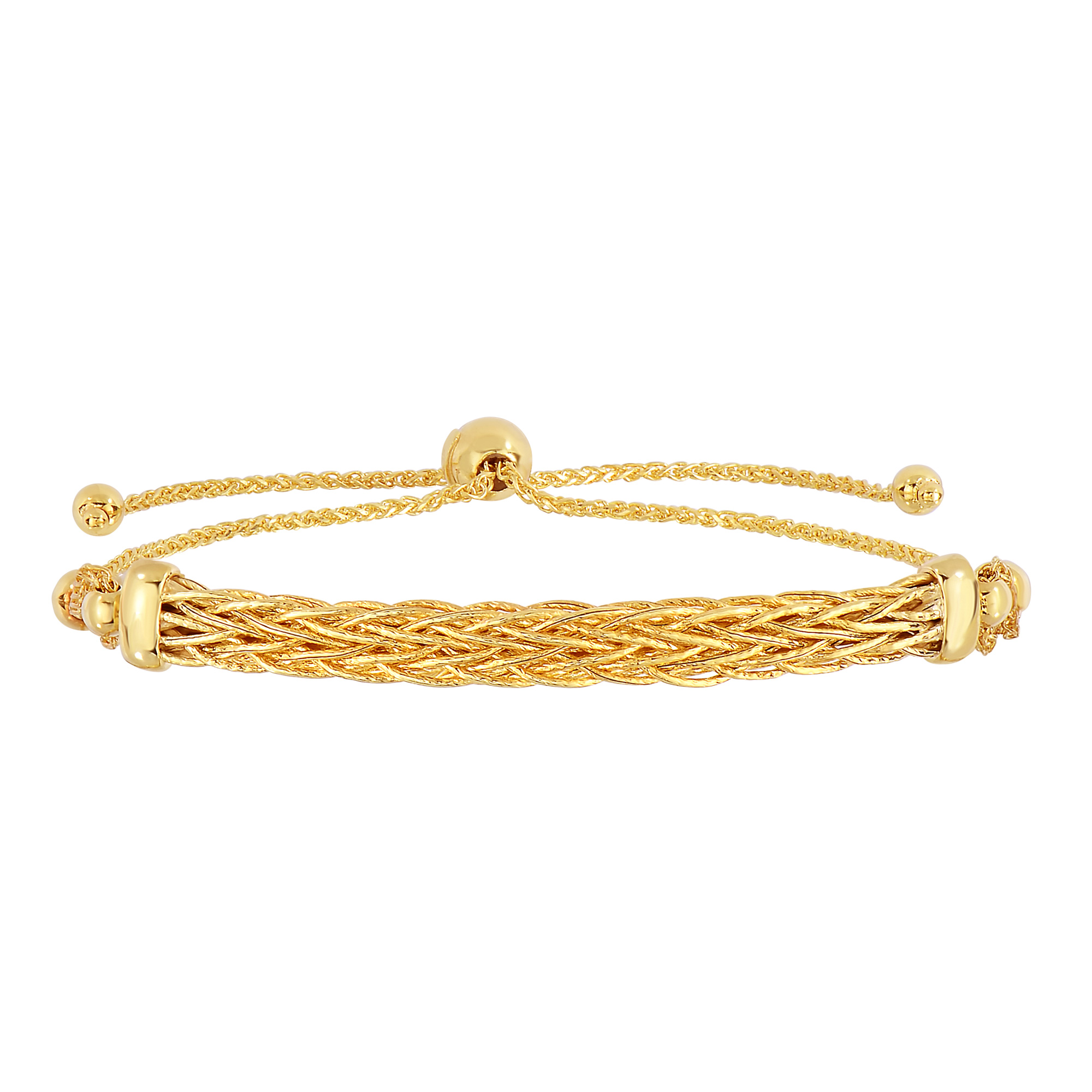 14K Yellow Gold Diamond Cut Round Wheat Adjustable Bracelet With Arched Weave Center Element, 9.25  Crafted in 14K gold, Our BOLO friendship line of bracelets are stylish easy to wear and a one of a kind collection. Meticulously executed in high quality finish 14K gold, these iconic bracelets are easily adjusted to fit any wrist. Each unique style of our Friendship collection looks beautiful worn as one piece alone or stacked with multiple styles for a layered and modern look. The bracelet comes in an elegant jewelry gift box, perfect for any gift giving occasion.