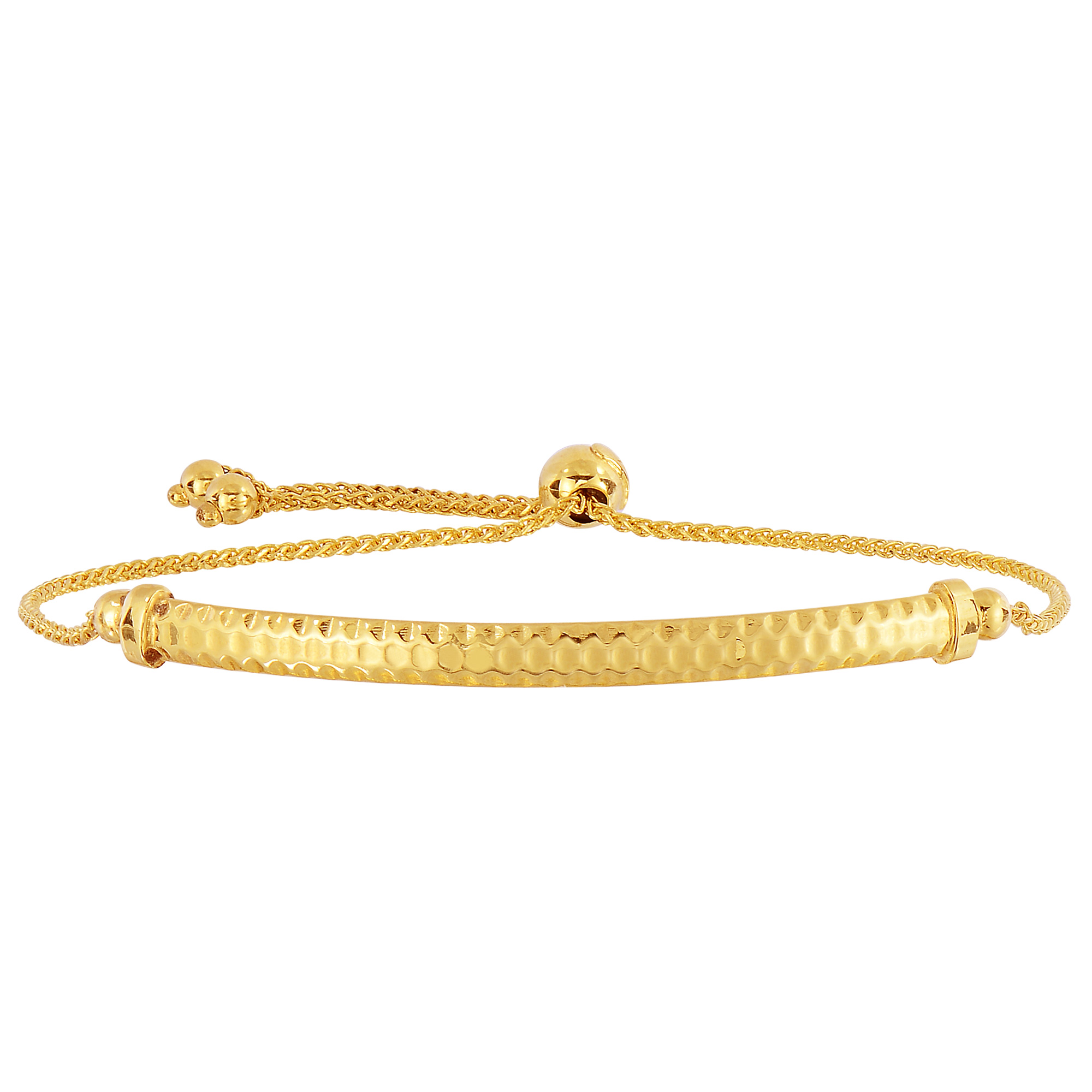 14K Yellow Gold Diamond Cut Round Wheat Adjustable Bracelet With Diamond Cut Arched Bar, 9.25  Crafted in 14K gold, Our BOLO friendship line of bracelets are stylish easy to wear and a one of a kind collection. Meticulously executed in high quality finish 14K gold, these iconic bracelets are easily adjusted to fit any wrist. Each unique style of our Friendship collection looks beautiful worn as one piece alone or stacked with multiple styles for a layered and modern look. The bracelet comes in an elegant jewelry gift box, perfect for any gift giving occasion.