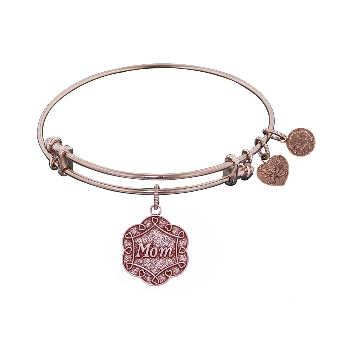 Pink Stipple Finish Brass Mom On 7 Leaf Flower Like Charm Angelica Bangle Bracelet, 7.25″