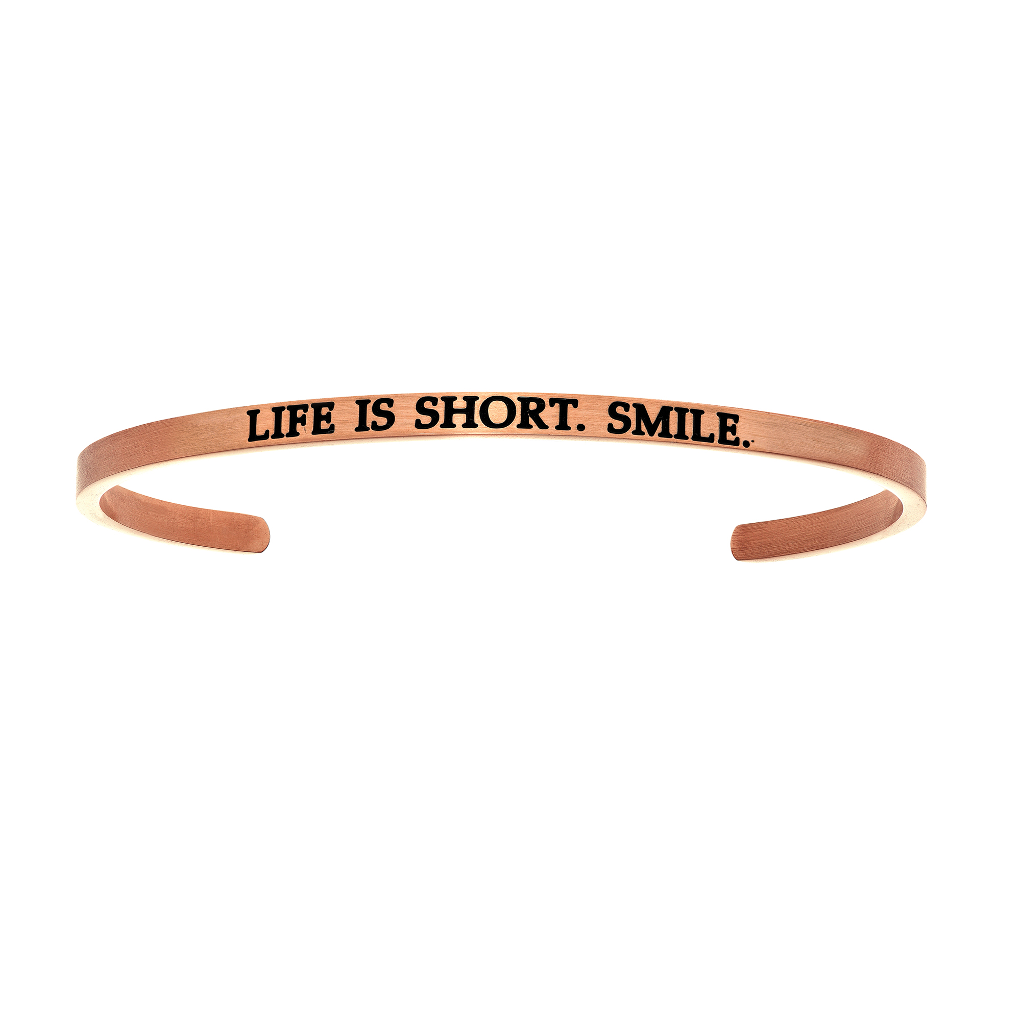 Intuitions Stainless Steel LIFE IS SHORT SMILE Diamond Accent Cuff Bangle Bracelet, 7″