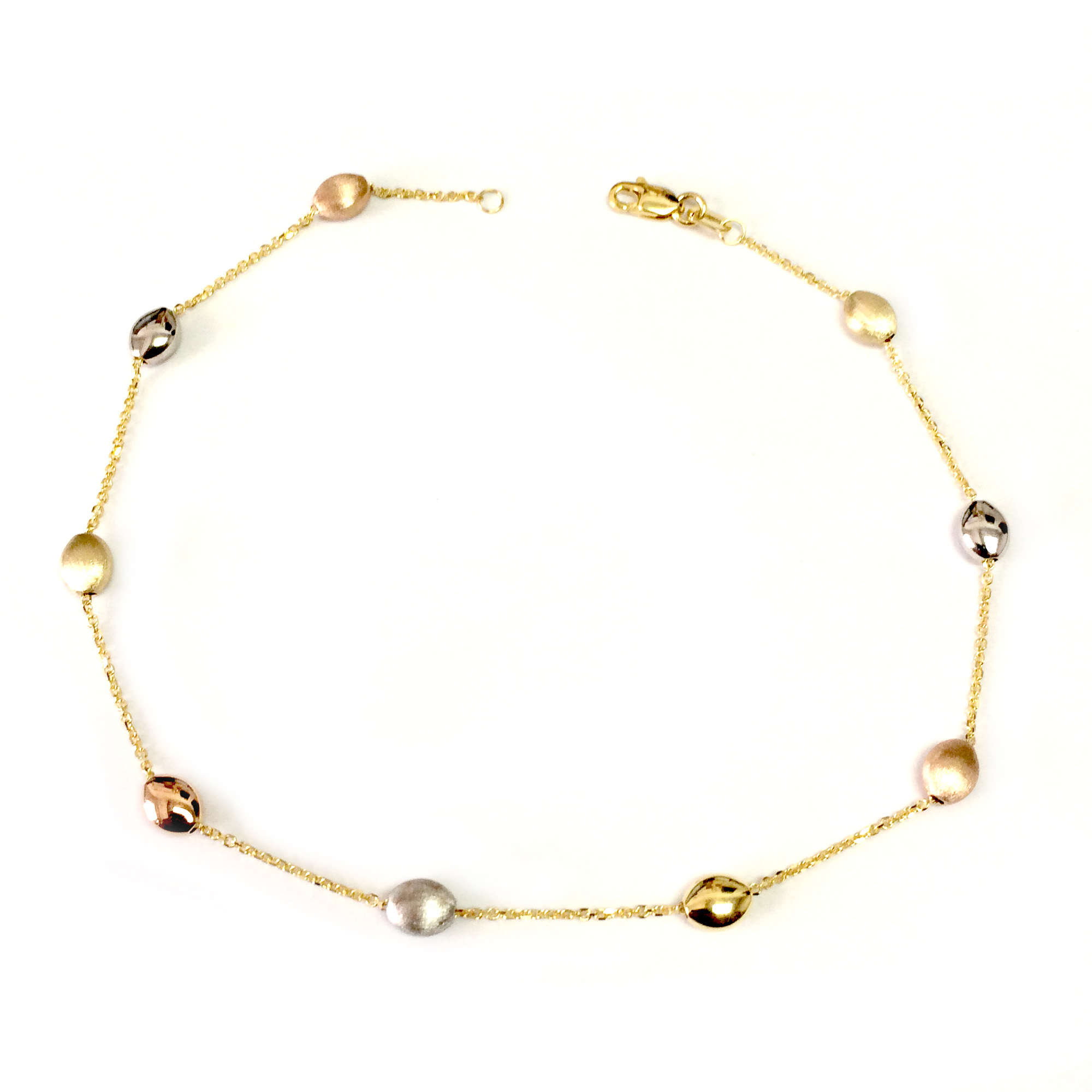 14K Yellow White And Rose Gold Charms Fancy Anklet, 10″