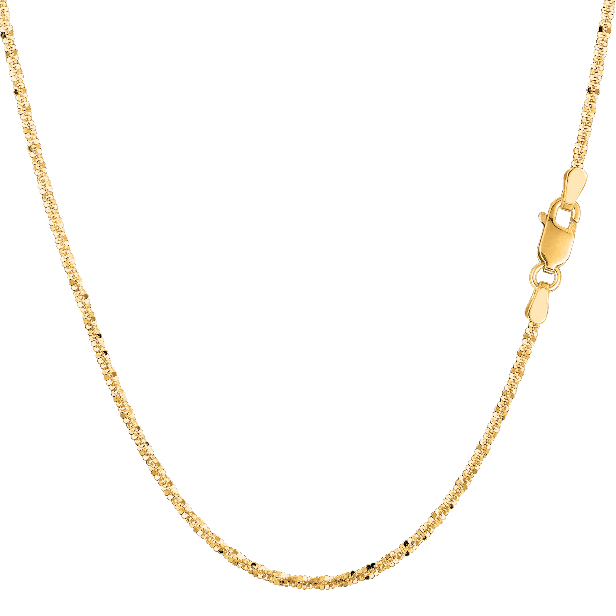 14k Yellow Gold Sparkle Chain Bracelet, 1.5mm, 7″
