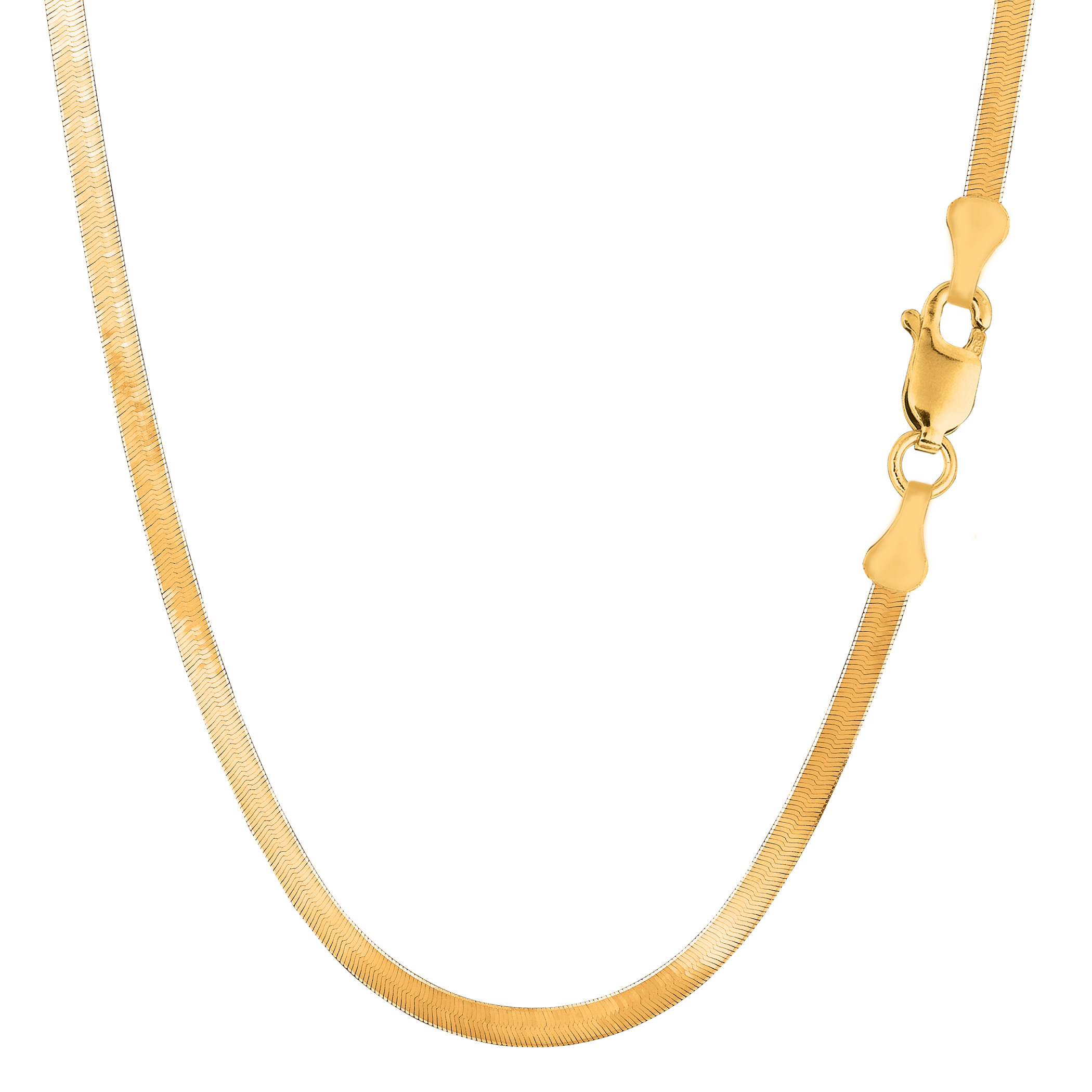 16 Inch Gold Herringbone Necklace: 14k Yellow Gold Imperial Herringbone Chain Width 3 0mm