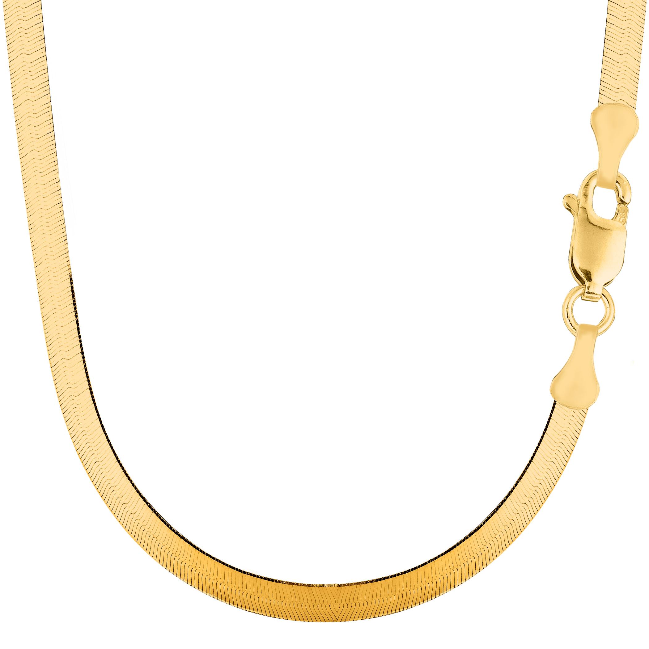 16 Inch Gold Herringbone Necklace: 14k Yellow Gold Imperial Herringbone Chain Width 5 0mm