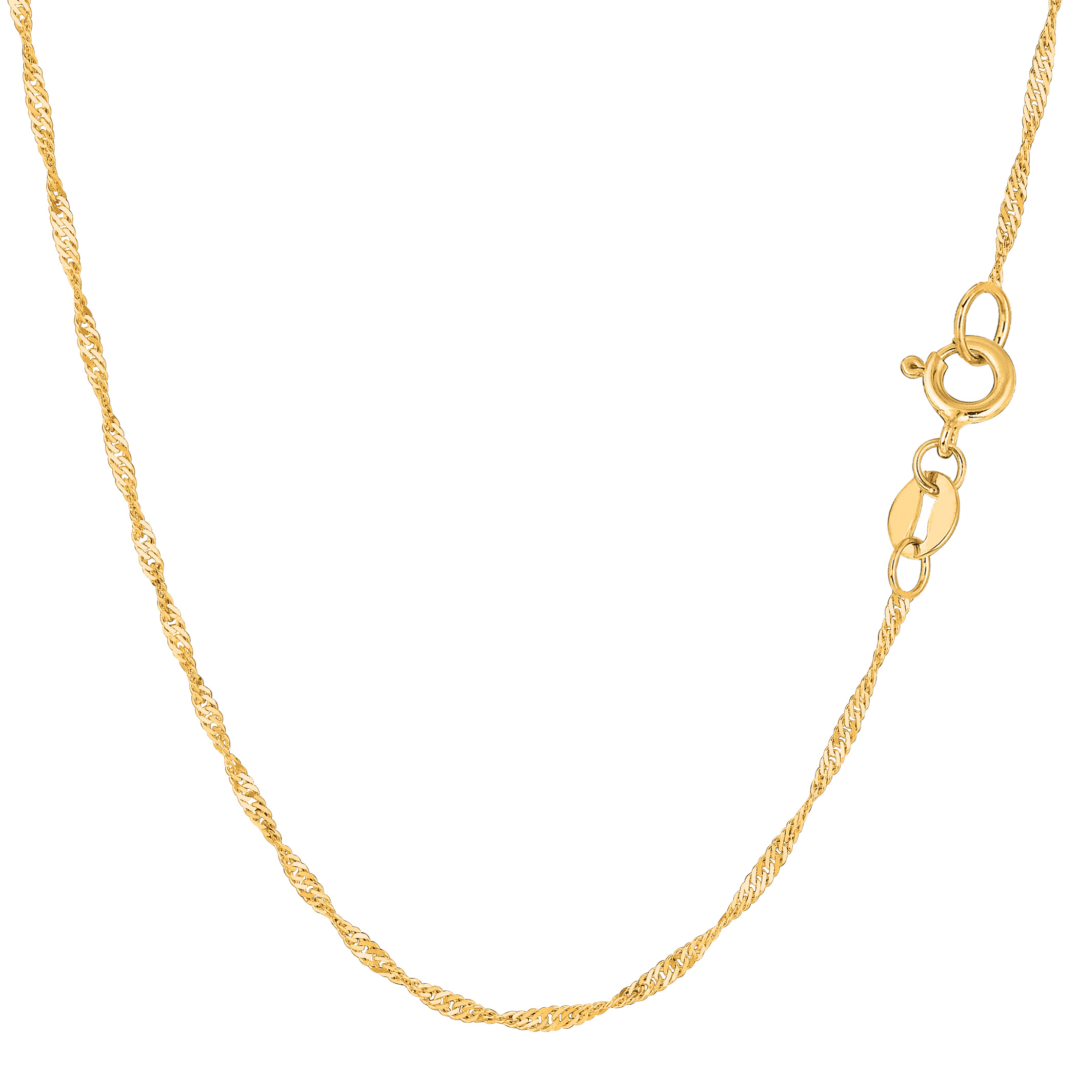 14k Yellow Gold Singapore Chain Bracelet, 1.5mm, 10″