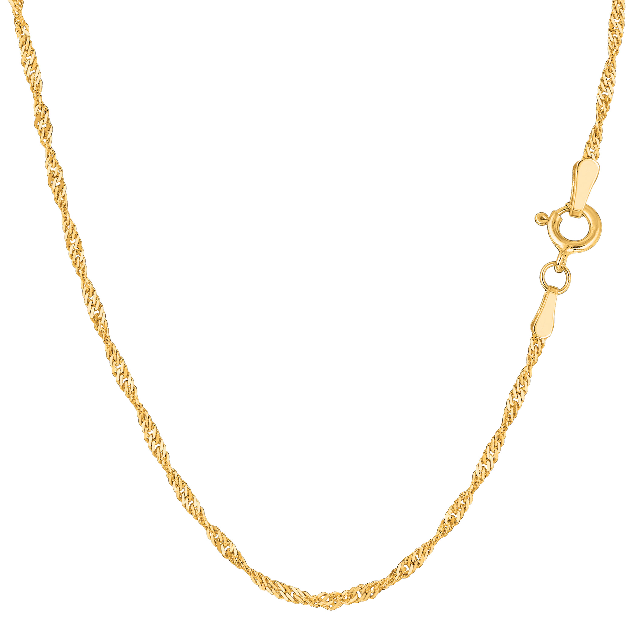 14k Yellow Gold Singapore Chain Bracelet, 1.7mm, 7″