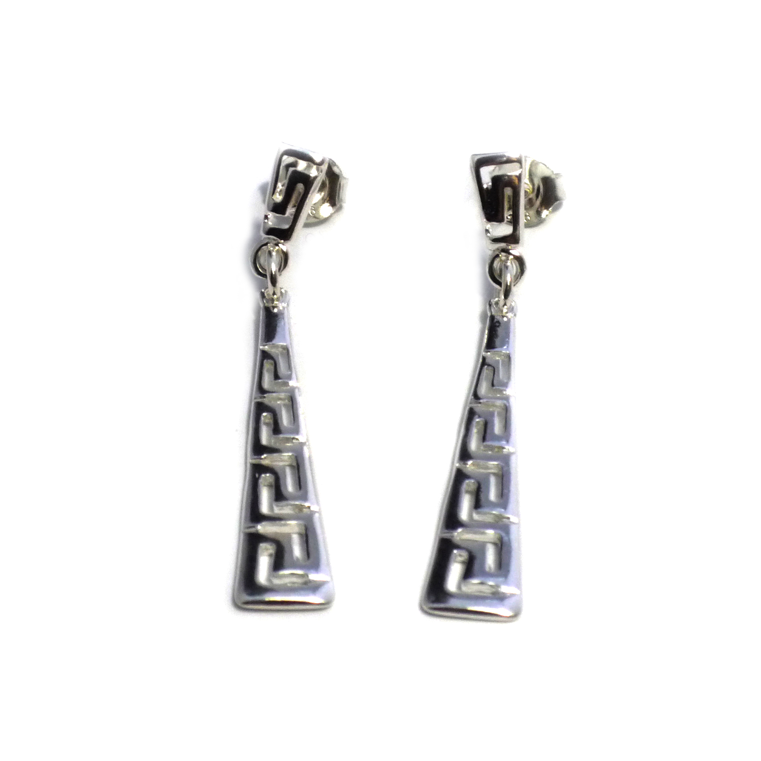 Sterling Silver Rhodium Plated Ancient Greek Key Drop Earrings Inspired from the of Greek ancient jewelry era, designed  and shaped into a  meander  also known as Greek key design, makes this timeless pair of dangle earrings a staple of a 3000 year old history.