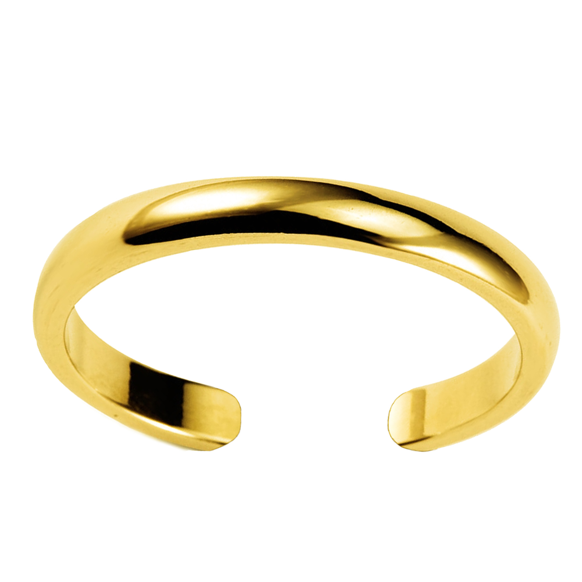 14K Yellow Gold Shiny Cuff Style Adjustable Toe Ring 3mm Whether you're barefoot or in sandals, put your best foot forward and tip your toes with this adorable toe ring. Made with 14K Yellow gold in a high polish finish, this cuff style adjustable toe ring will make a great addition to anyone's jewelry collection.