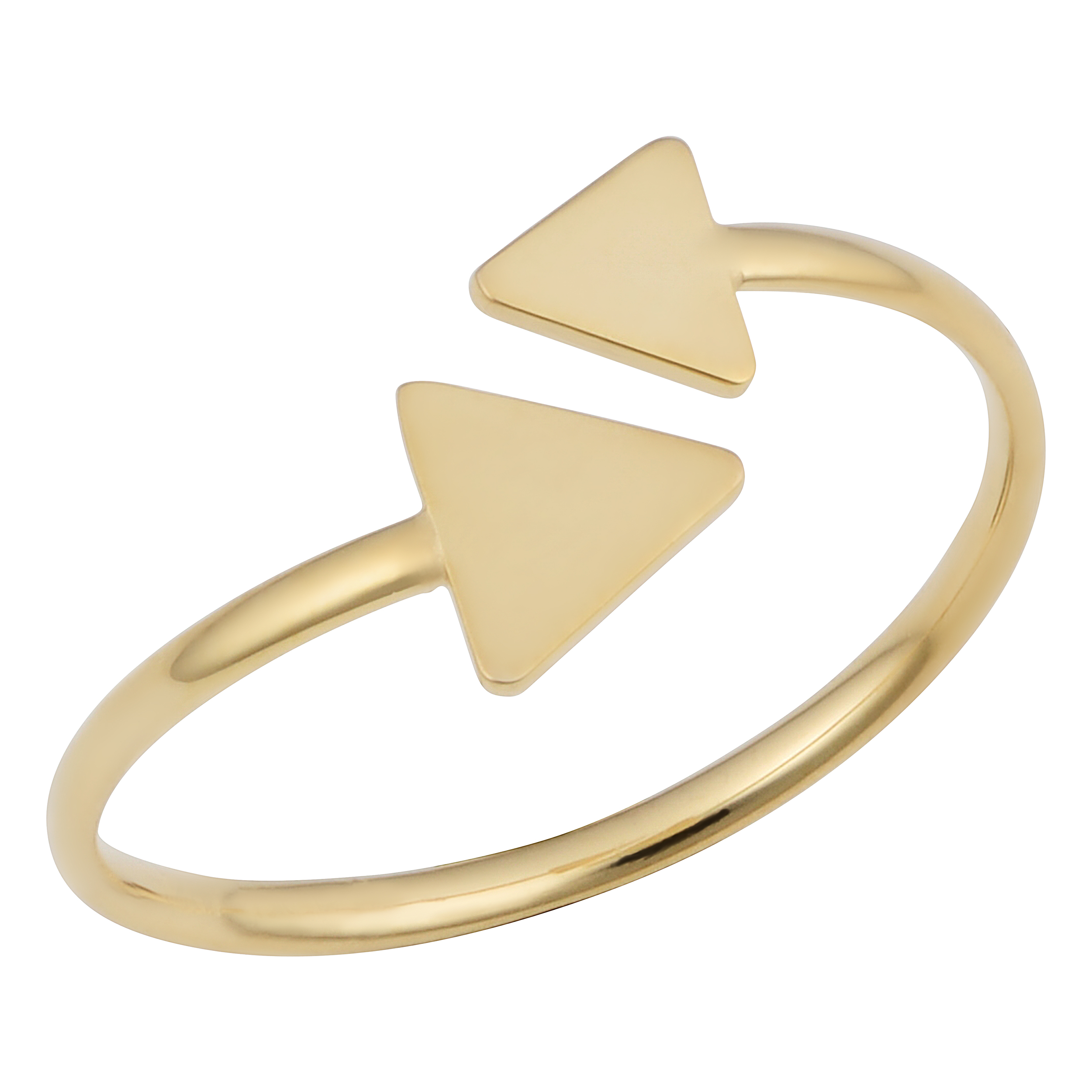 14k Yellow Gold Double Triangle Bypass Ring, Size 6