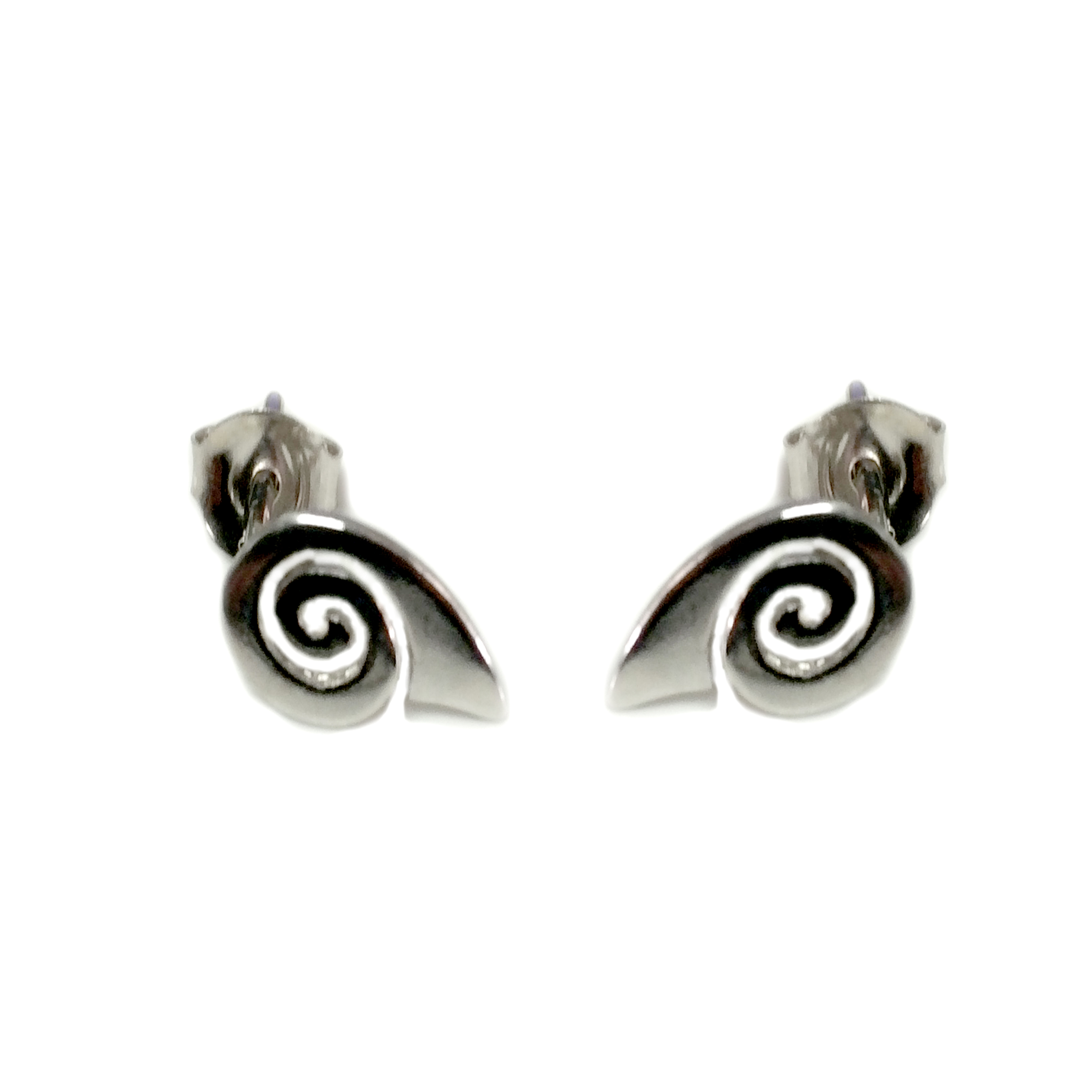 Sterling Silver Rhodium Plated Greek Spira Stud Earrings, 10mm Inspired from the of Greek ancient jewelry era, designed  and shaped into a  meander  also known as Greek spira design, makes this timeless pair of push back stud earrings a staple of a 3000 year old history. These earrings are 15mm in length