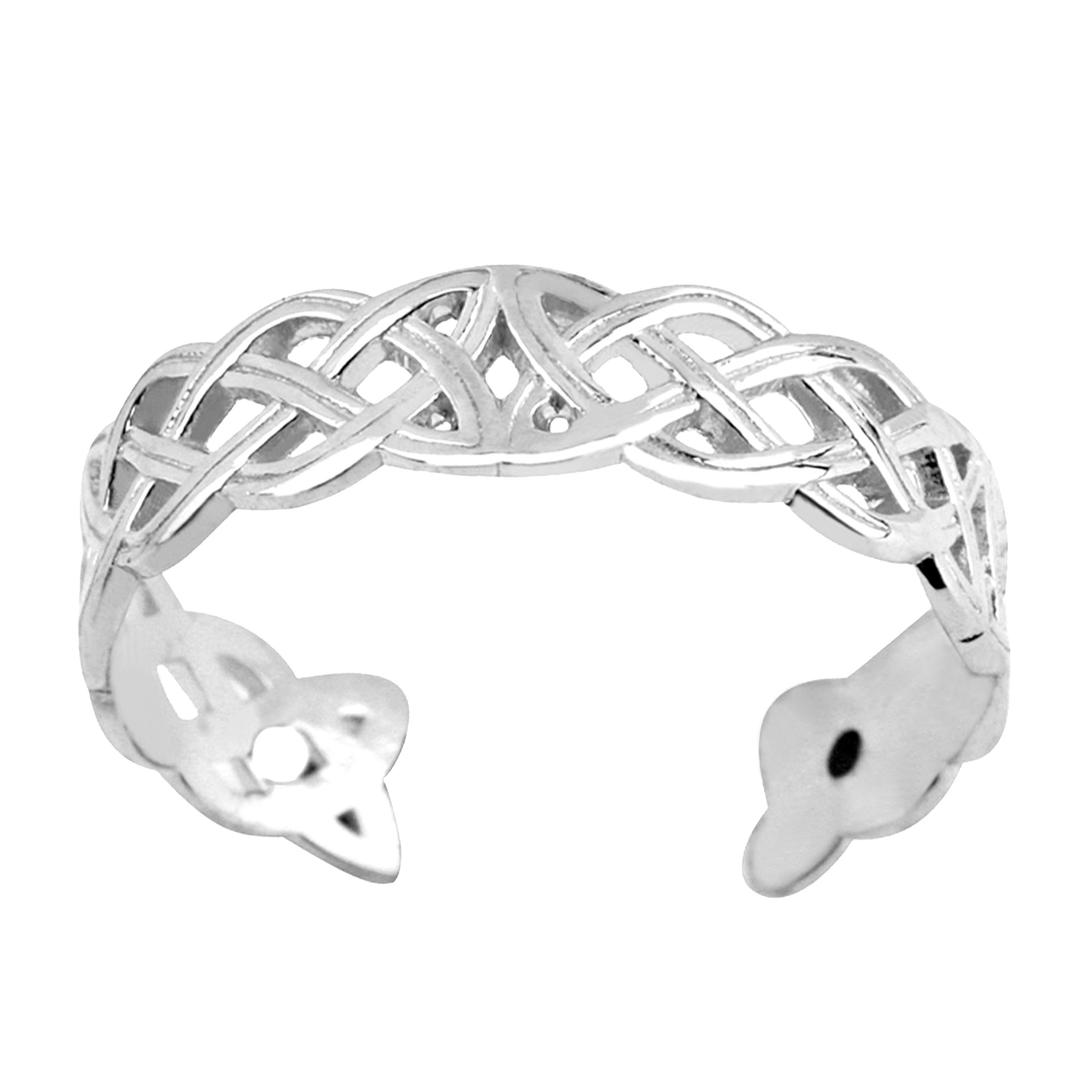 14K White Gold Celtic Knot Weave Design Cuff Style Adjustable Toe Ring Always in style, toe rings make the perfect accessory to dress up your pedicure and add some glitz to your toes. Made with 14K white gold and a distinct Celtic knot weave design, this cuff style adjustable toe ring will make a great addition to anyone's jewelry collection.