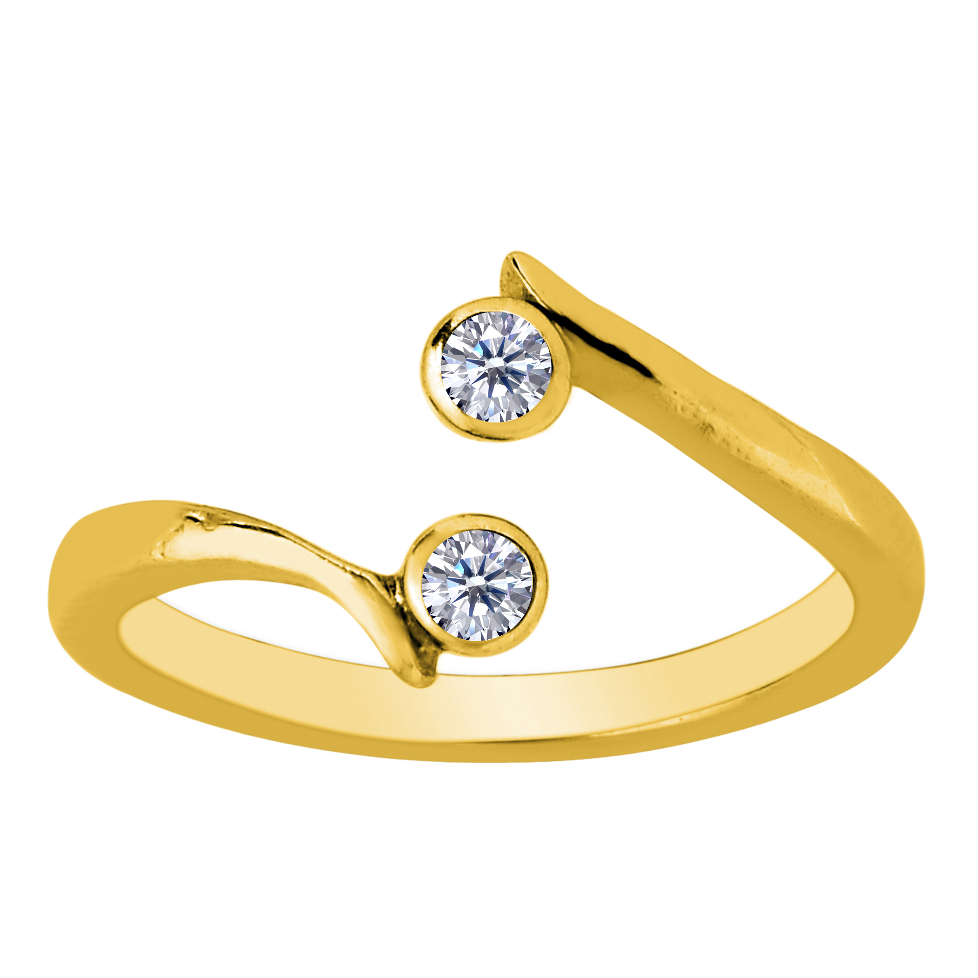 14K Yellow Gold Double Solitaire With CZ By Pass Style Adjustable Toe Ring Whether you're barefoot or in sandals, put your best foot forward and tip your toes with this adorable toe ring. Made with 14K yellow gold in a high polish finish and CZ stones, this double solitaire by pass style adjustable toe ring will make a great addition to anyone's jewelry collection.