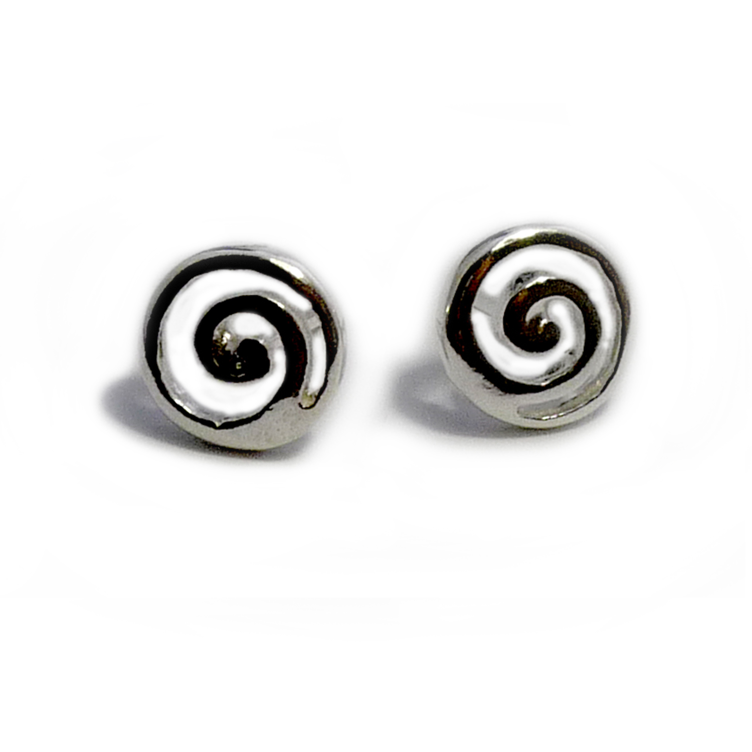 Sterling Silver Greek Spira Stud Earrings, Diameter 10mm Brought back from the of Greek ancient jewelry era, designed & inspired by the Ancient Greek mythological Labyrinth  built by the legendary artificer Daedalus, makes this timeless pair of push back stud earrings a staple of a 3000 year old history.