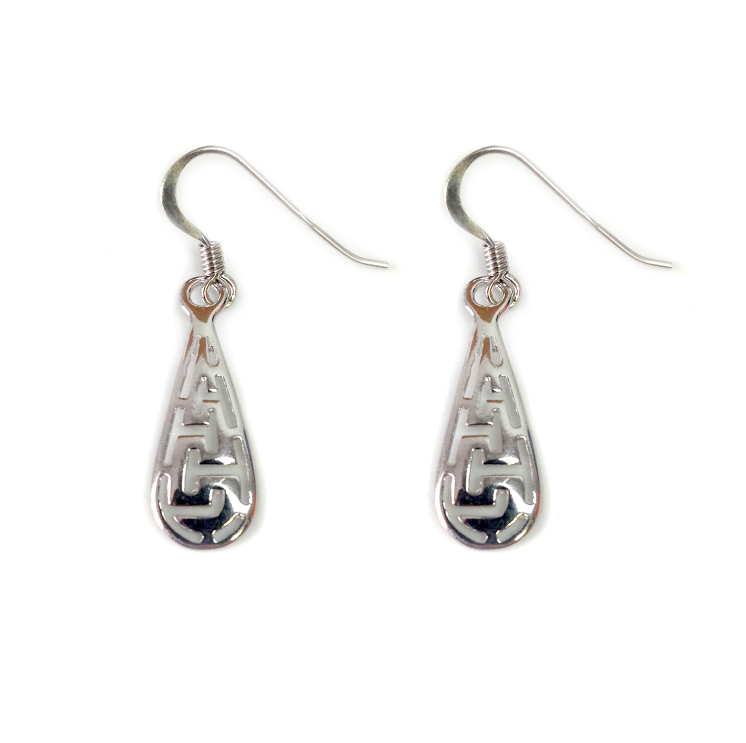 Sterling Silver Ancient Greek Key Drop Earrings Inspired from the of Greek ancient jewelry era, designed  and shaped into a  meander  also known as Greek key design, makes this timeless pair of french wire dangle earrings a staple of a 3000 year old history.