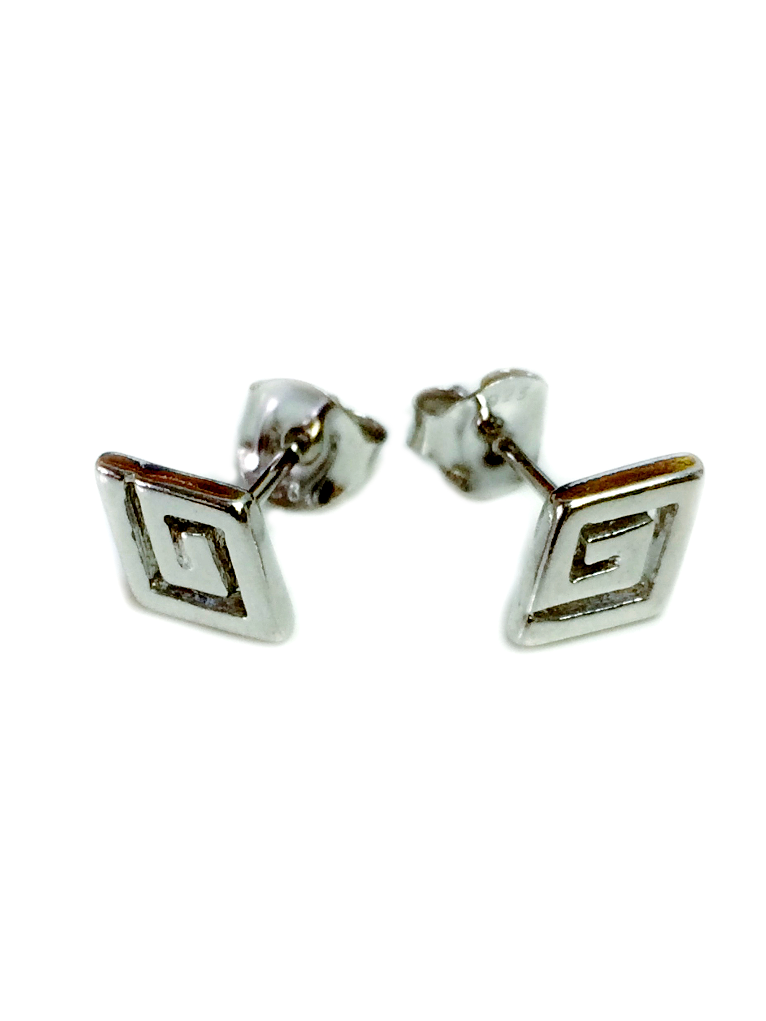 Sterling Silver Rhodium Plated Ancient Greek Key Stud Earrings Brought back from the of Greek ancient jewelry era, designed & inspired by the Ancient Greek mythological Labyrinth  built by the legendary artificer Daedalus, makes this timeless pair of push back stud earrings a staple of a 3000 year old history.