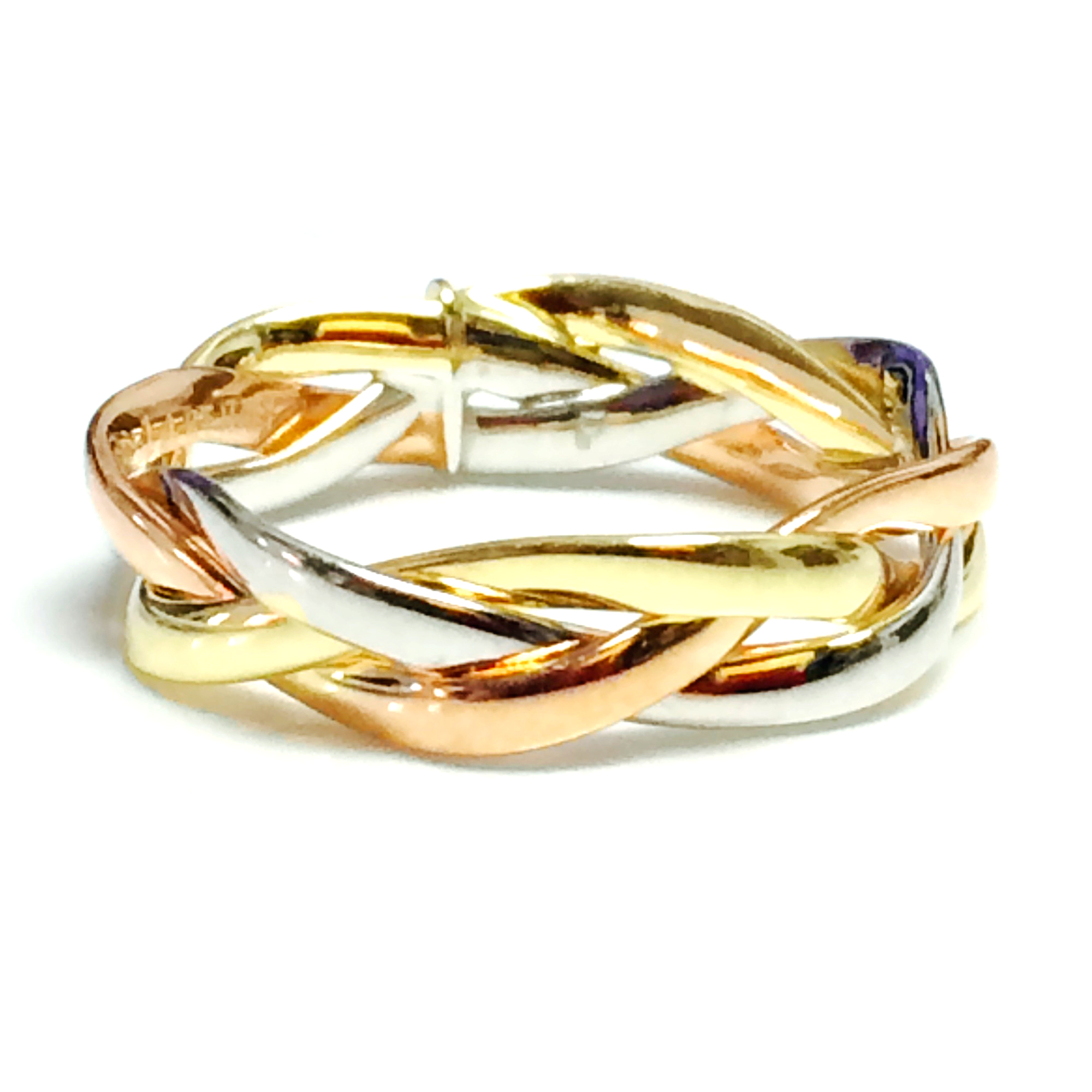 9de0563c4 Details about 14K Tri Color Gold Intertwined Braided Ring