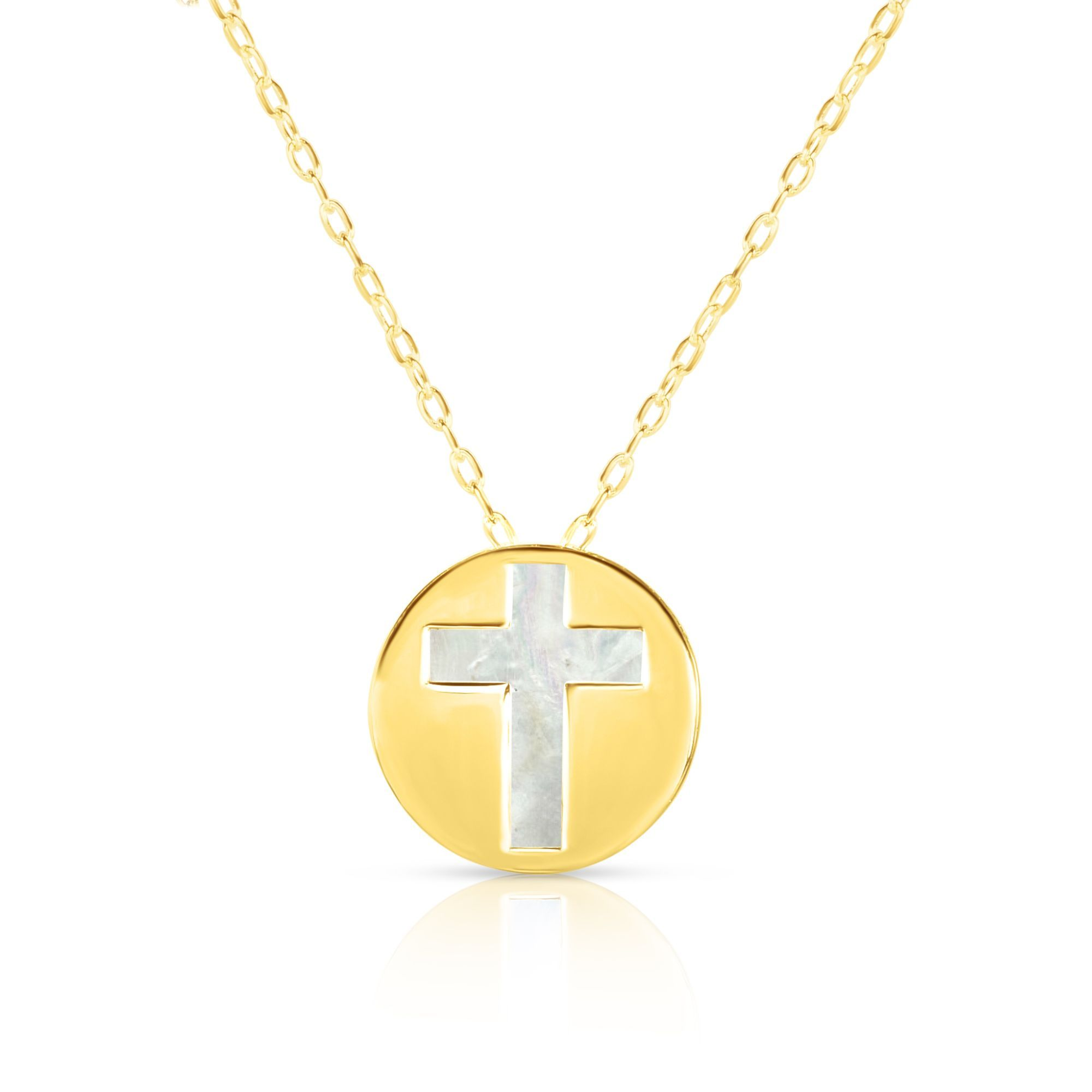 14K Yellow Gold Mother Of Pearl Cross Pendant Necklace, 16