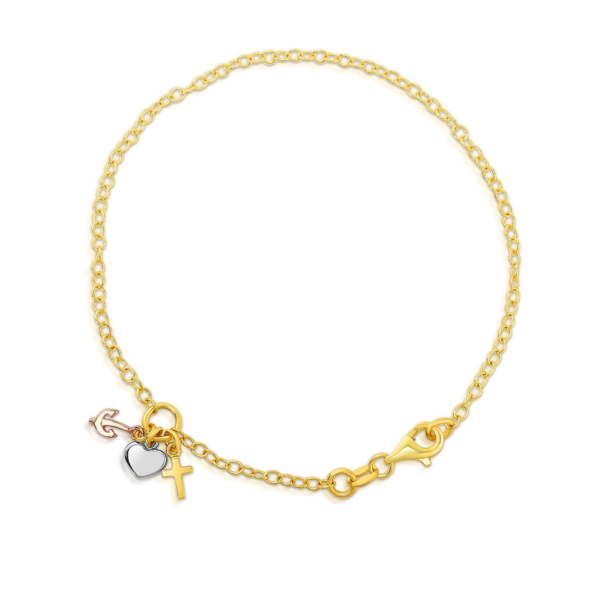 14k Yellow Gold Chain Heart Lock And Anchor Bracelet, 7.5″